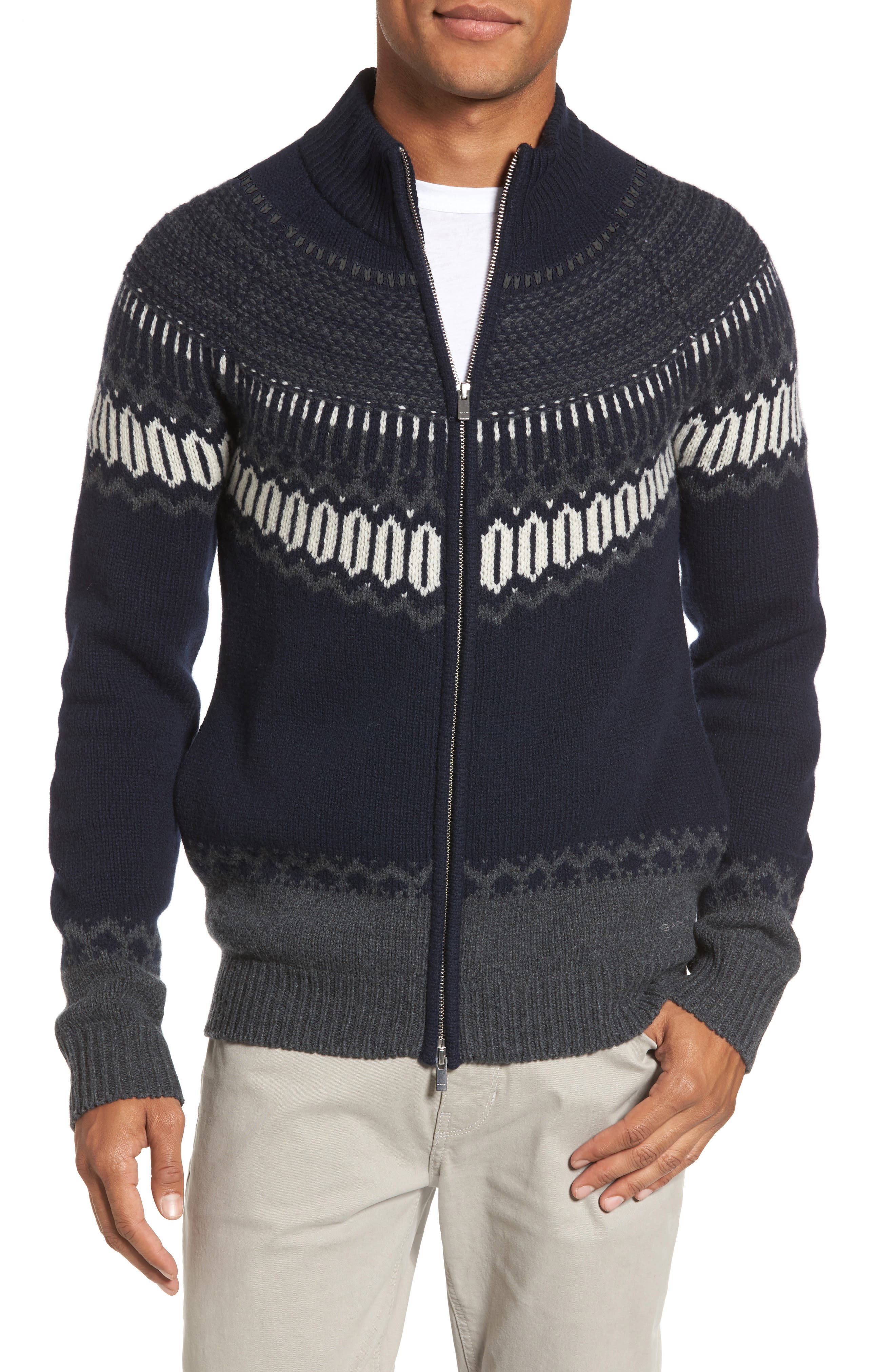 02 Lambswool & Cashmere Fair Isle Zip Front Cardigan,                         Main,                         color, Navy