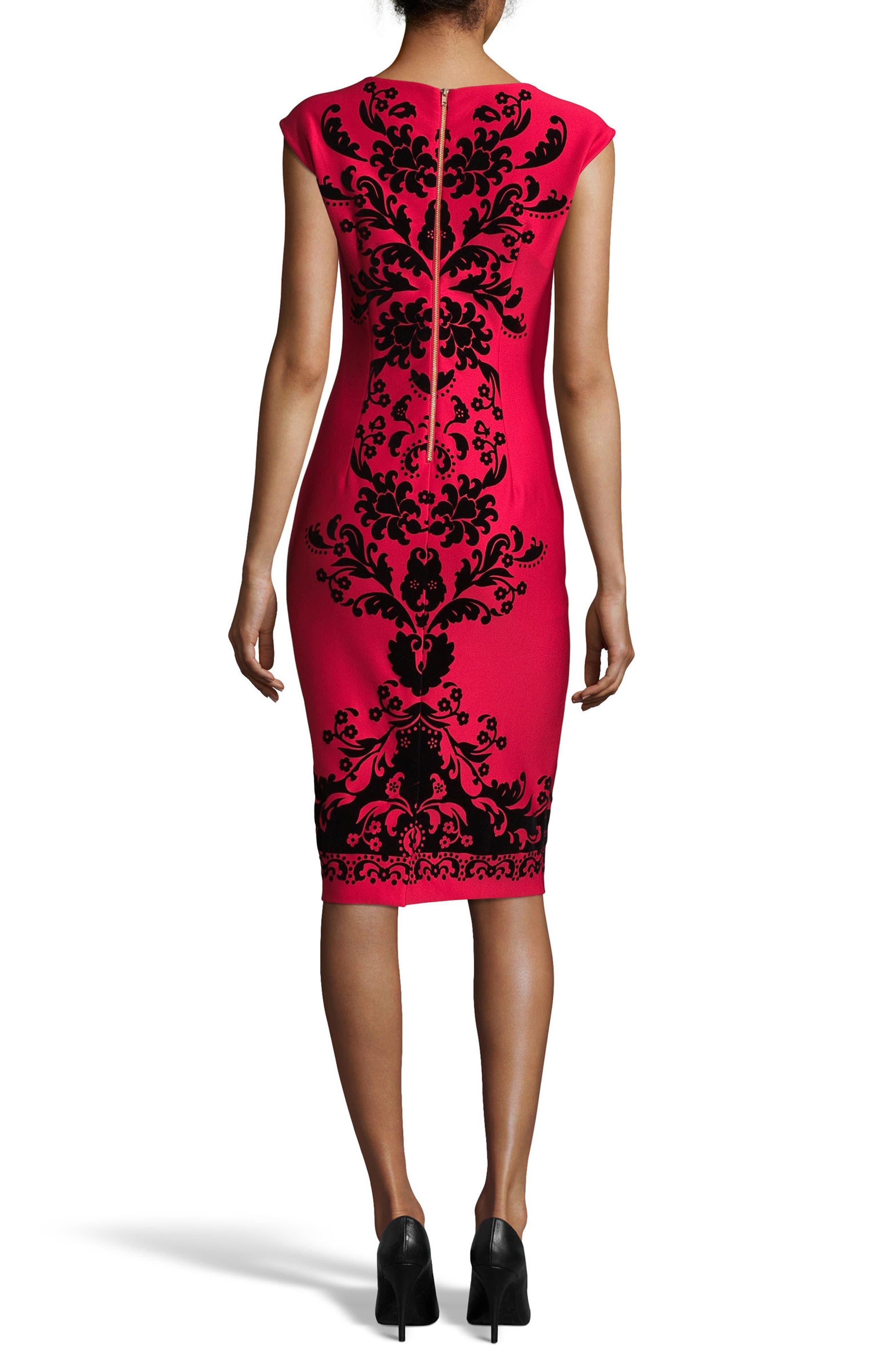 Flocked V-Neck Scuba Knit Dress,                             Alternate thumbnail 2, color,                             Red