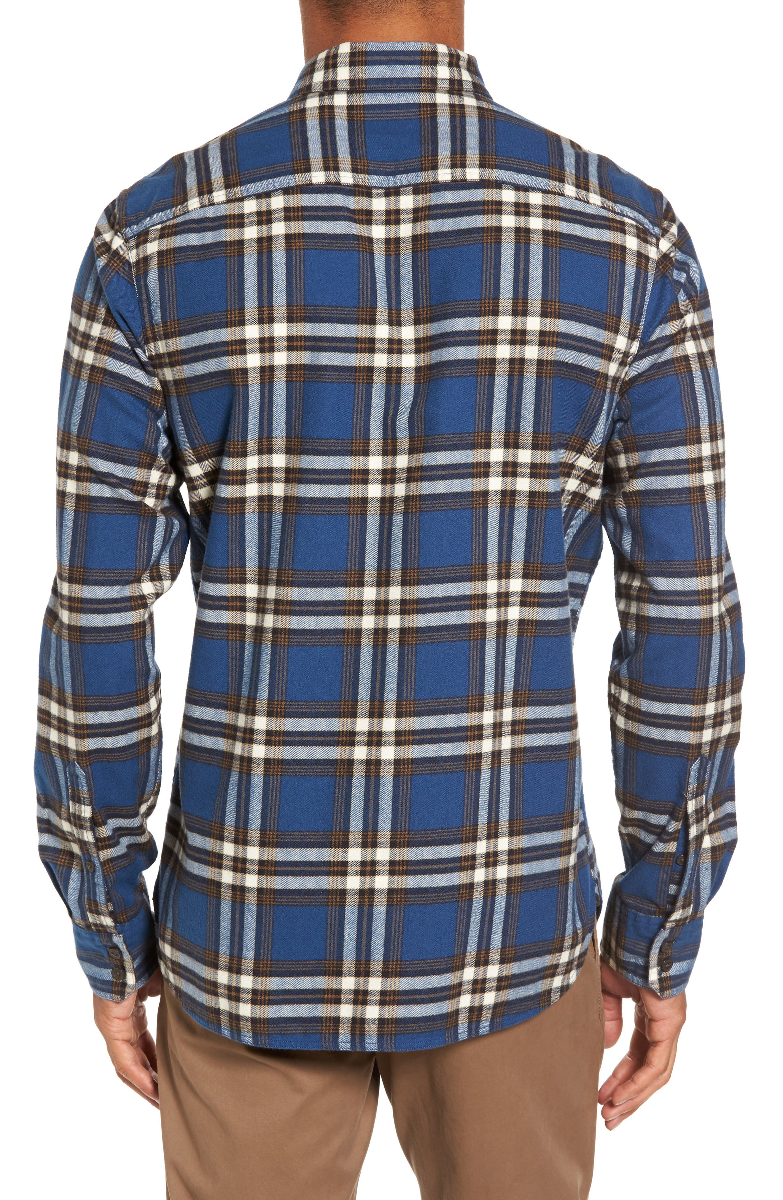 Trim Fit Workwear Check Flannel Shirt,                             Alternate thumbnail 2, color,                             Blue Vintage Brown Plaid