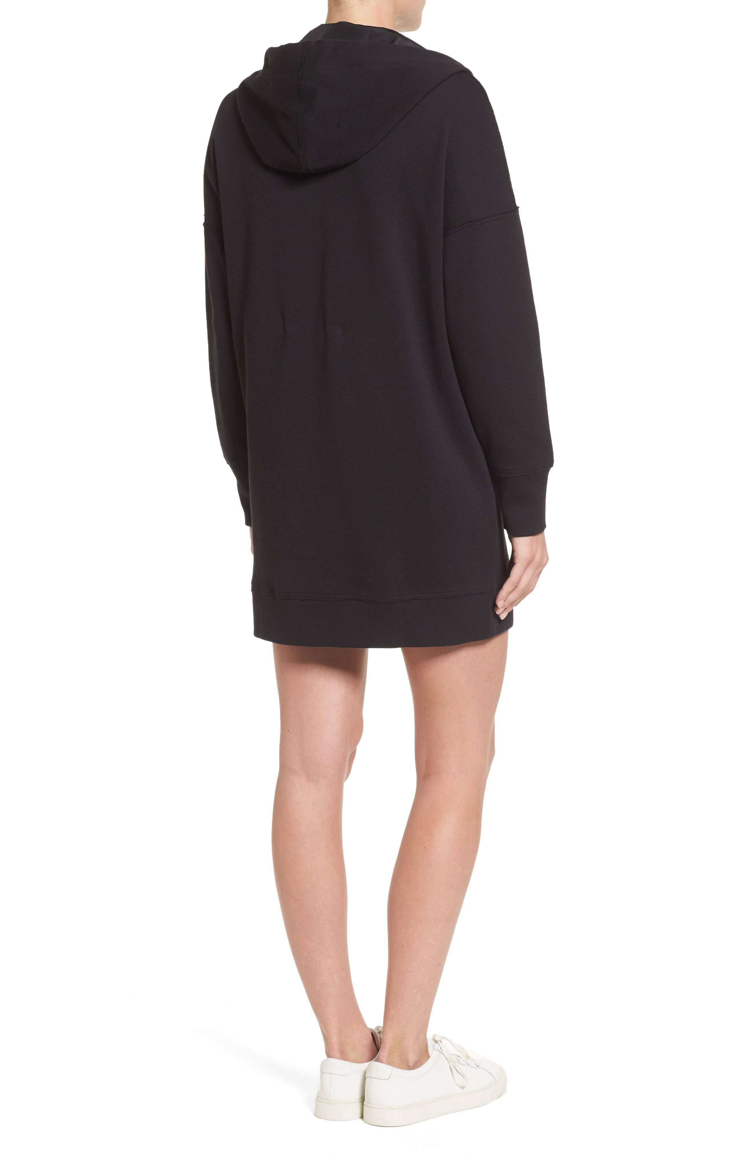 Hoodie Dress,                             Alternate thumbnail 2, color,                             Black