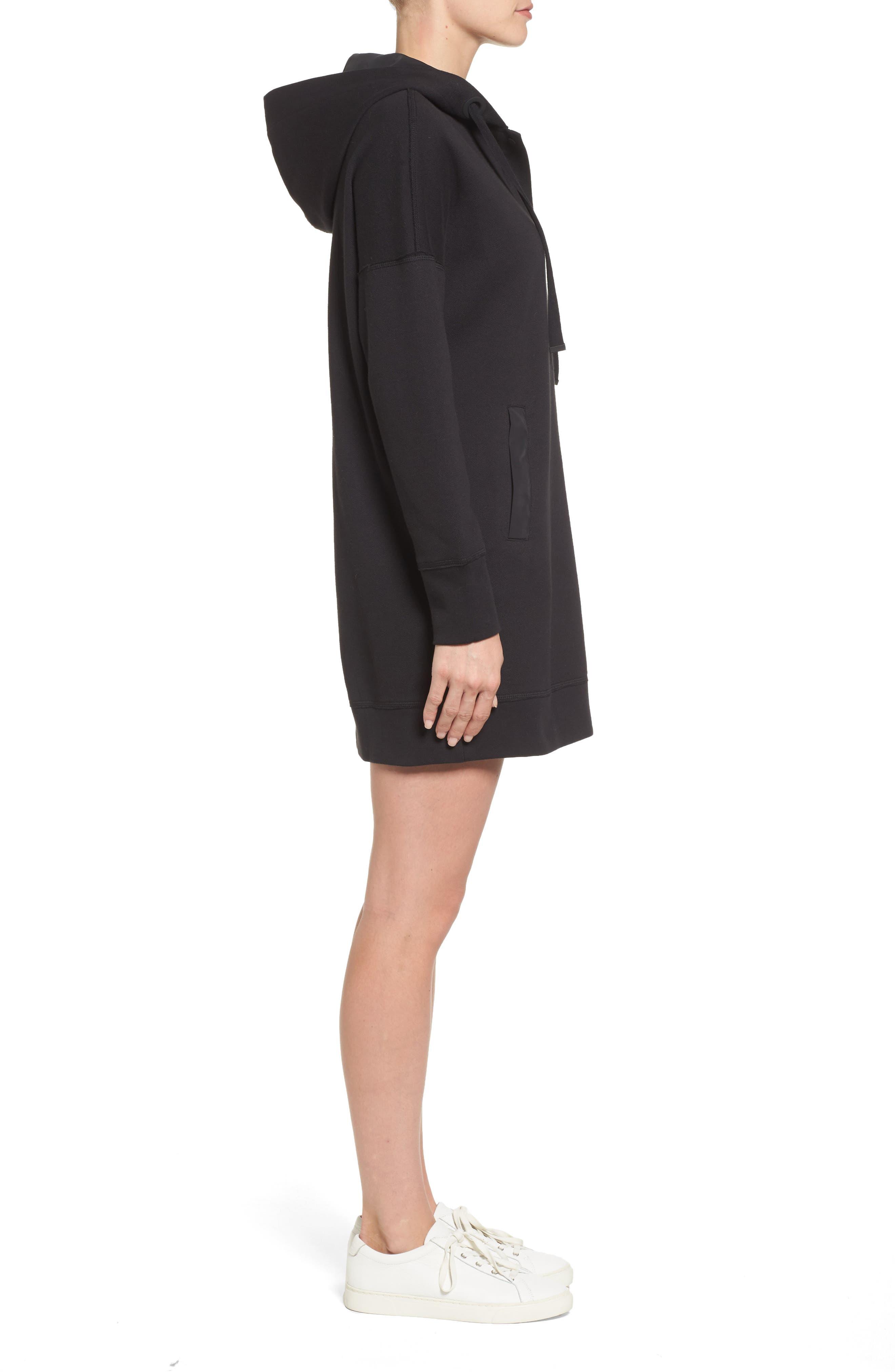 Hoodie Dress,                             Alternate thumbnail 3, color,                             Black