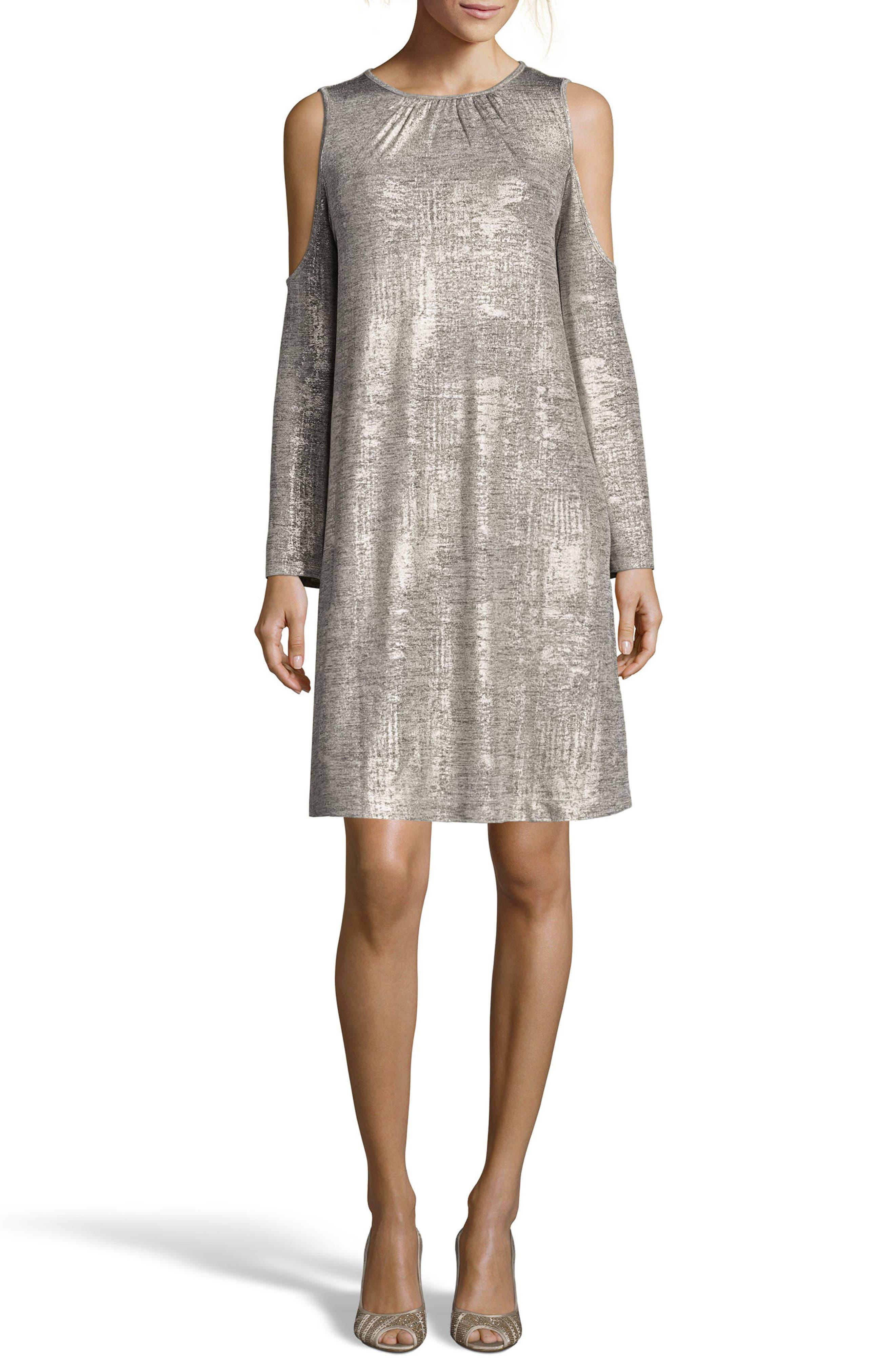 ECI Foil Cold Shoulder Shift Dress