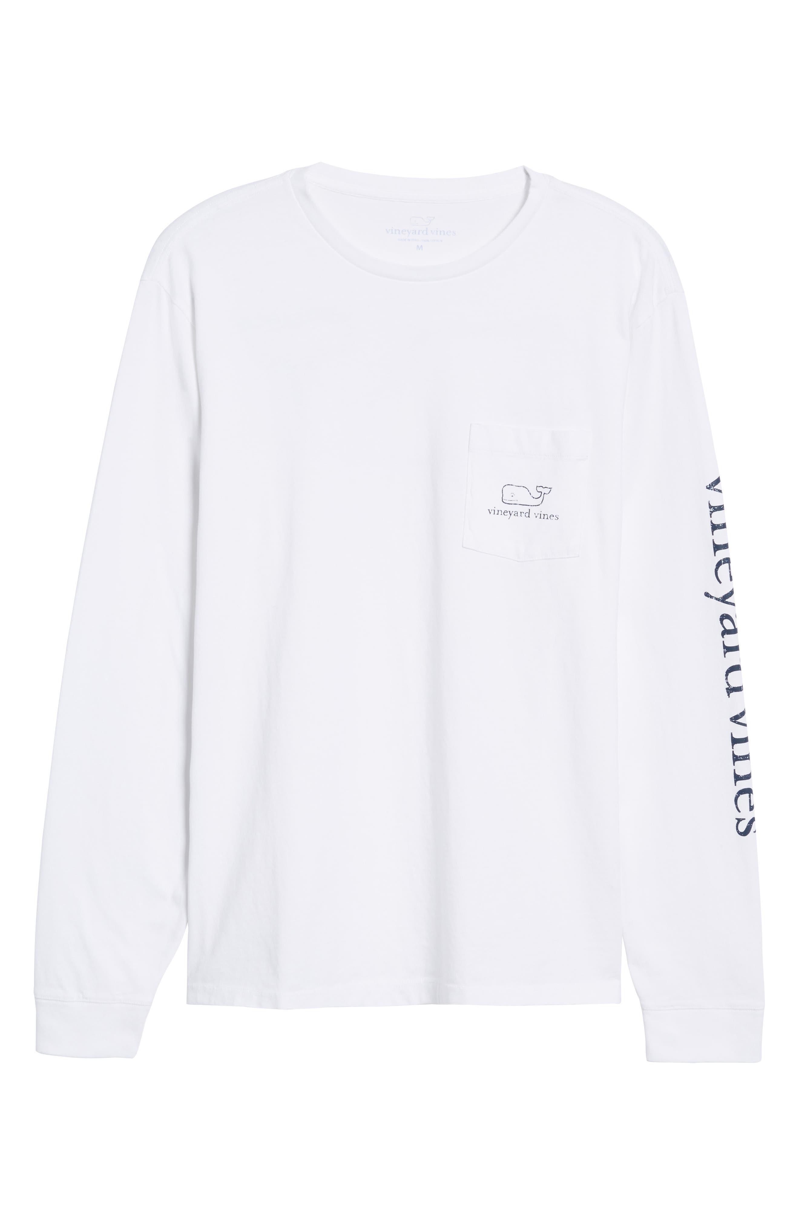 Pocket Long Sleeve T-Shirt,                             Alternate thumbnail 6, color,                             White Cap