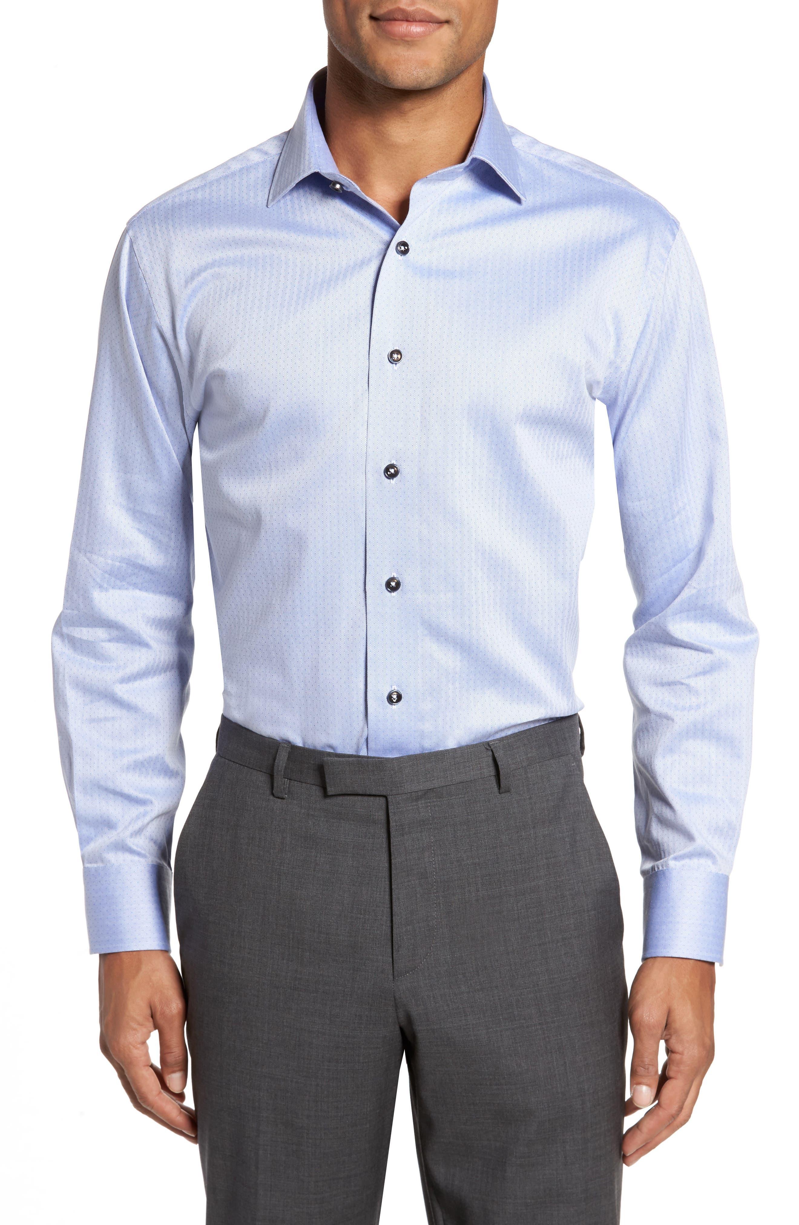 Trim Fit Herringbone Dress Shirt,                         Main,                         color, Light Blue
