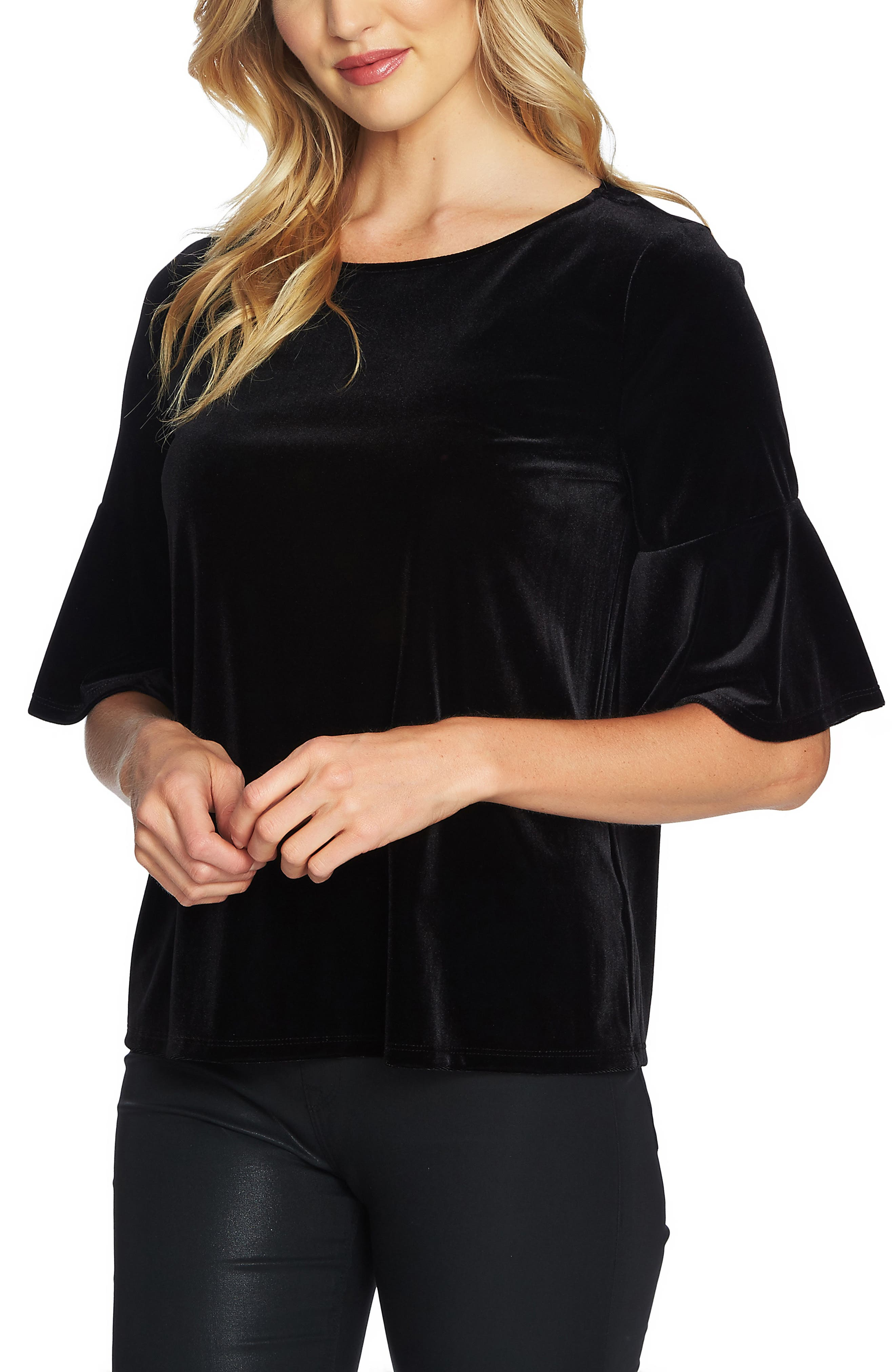 Bell Sleeve Velvet Top,                             Alternate thumbnail 3, color,                             Rich Black