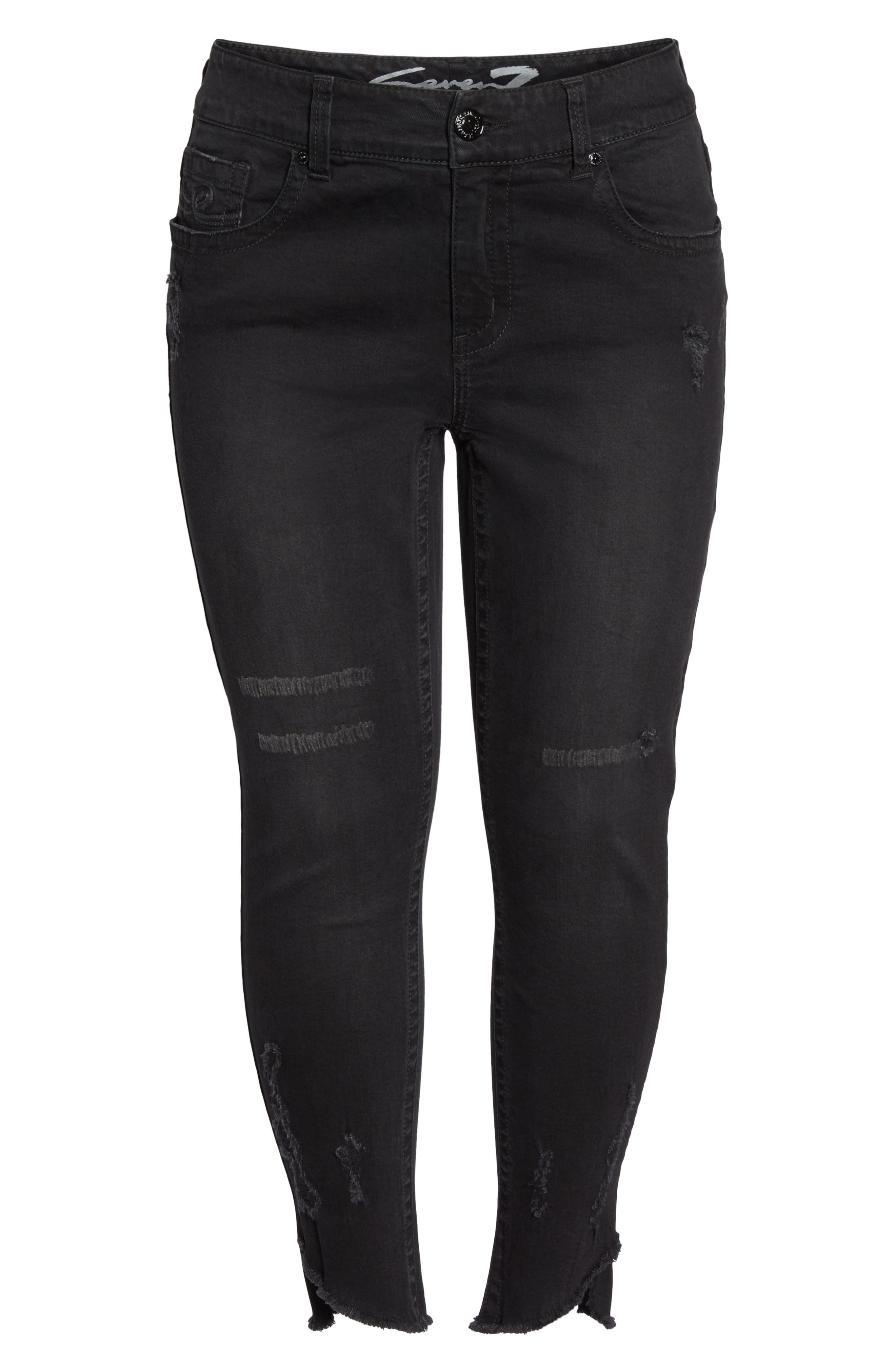 Distressed Slant Raw Hem Skinny Jeans,                             Alternate thumbnail 6, color,                             Blackbird