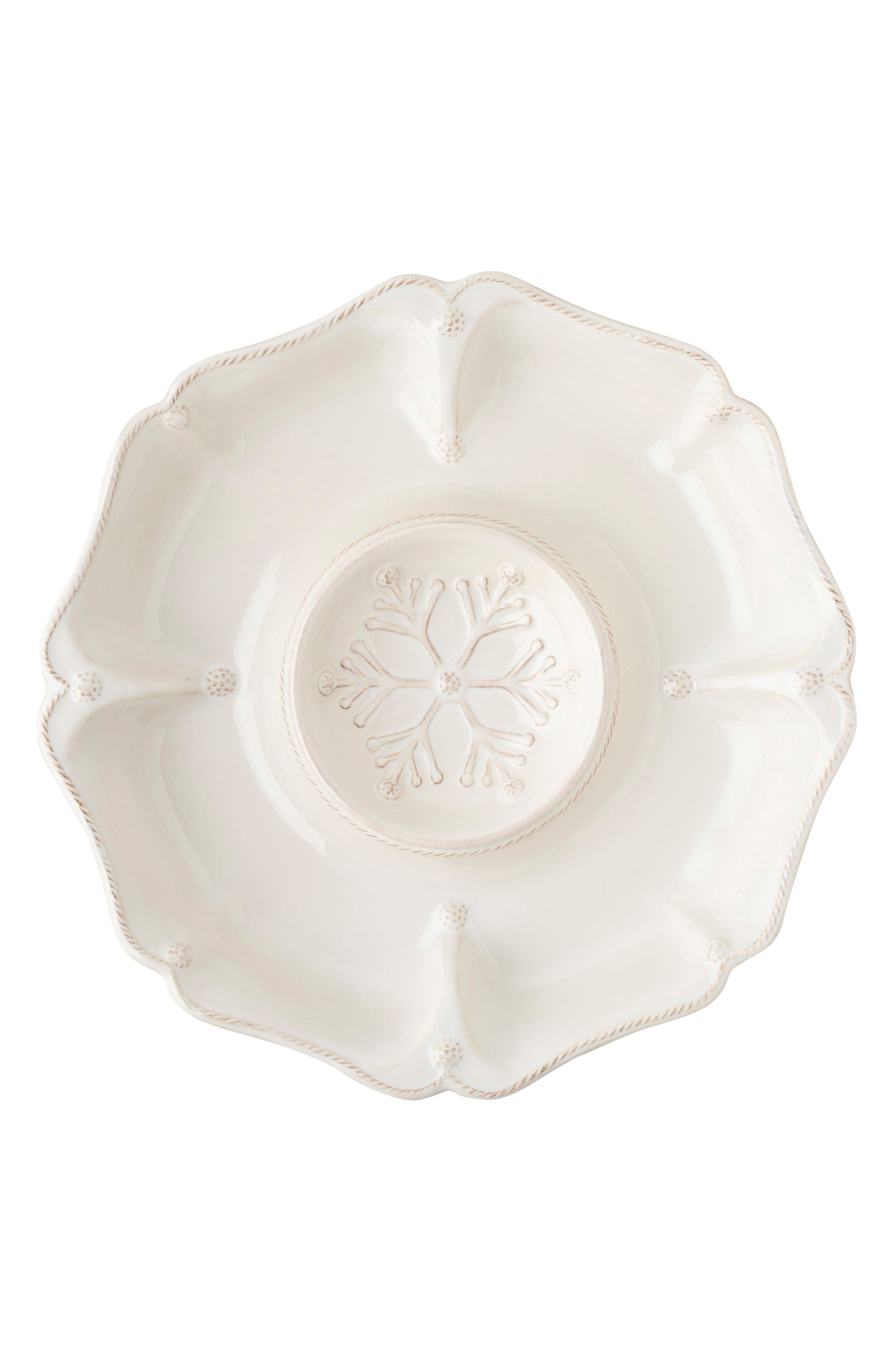 Berry & Thread Ceramic Hors D'Oeuvres Serving Tray,                             Main thumbnail 1, color,                             Whitewash