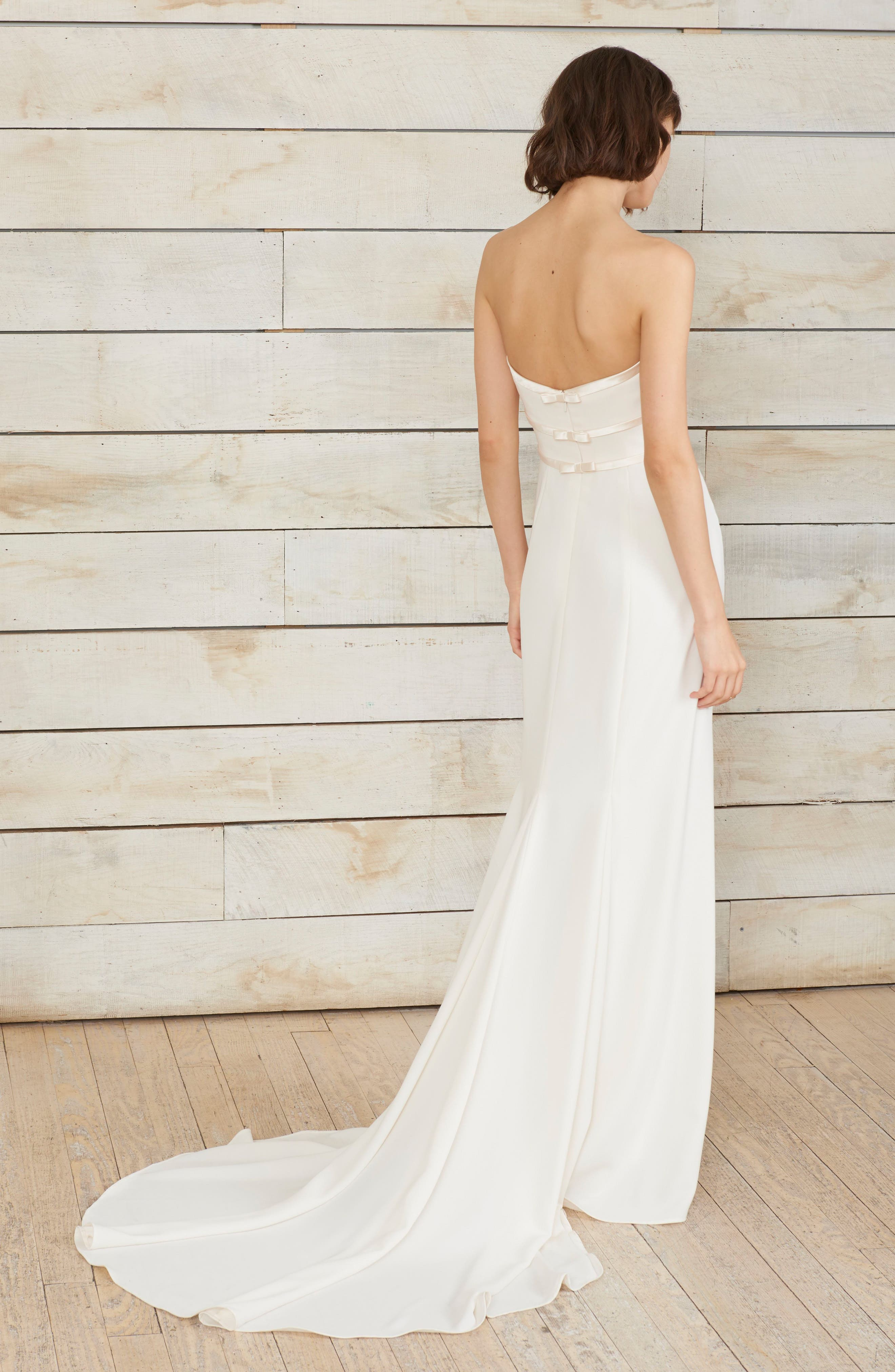 Arielle Bow Detail Strapless Crepe Gown,                             Alternate thumbnail 2, color,                             Ivory