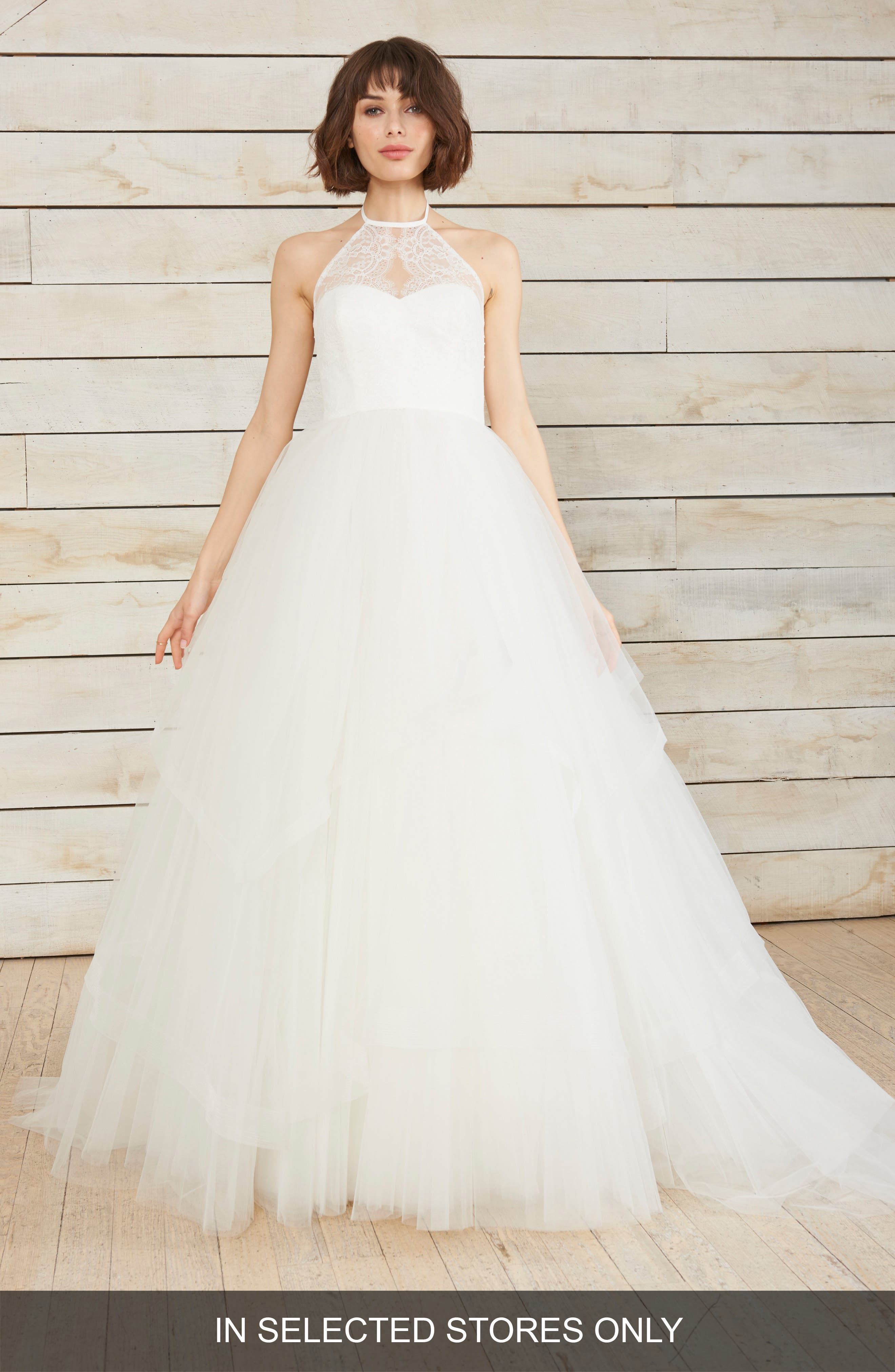 Hazel Chantilly Lace & Tulle Halter Gown,                         Main,                         color, Ivory