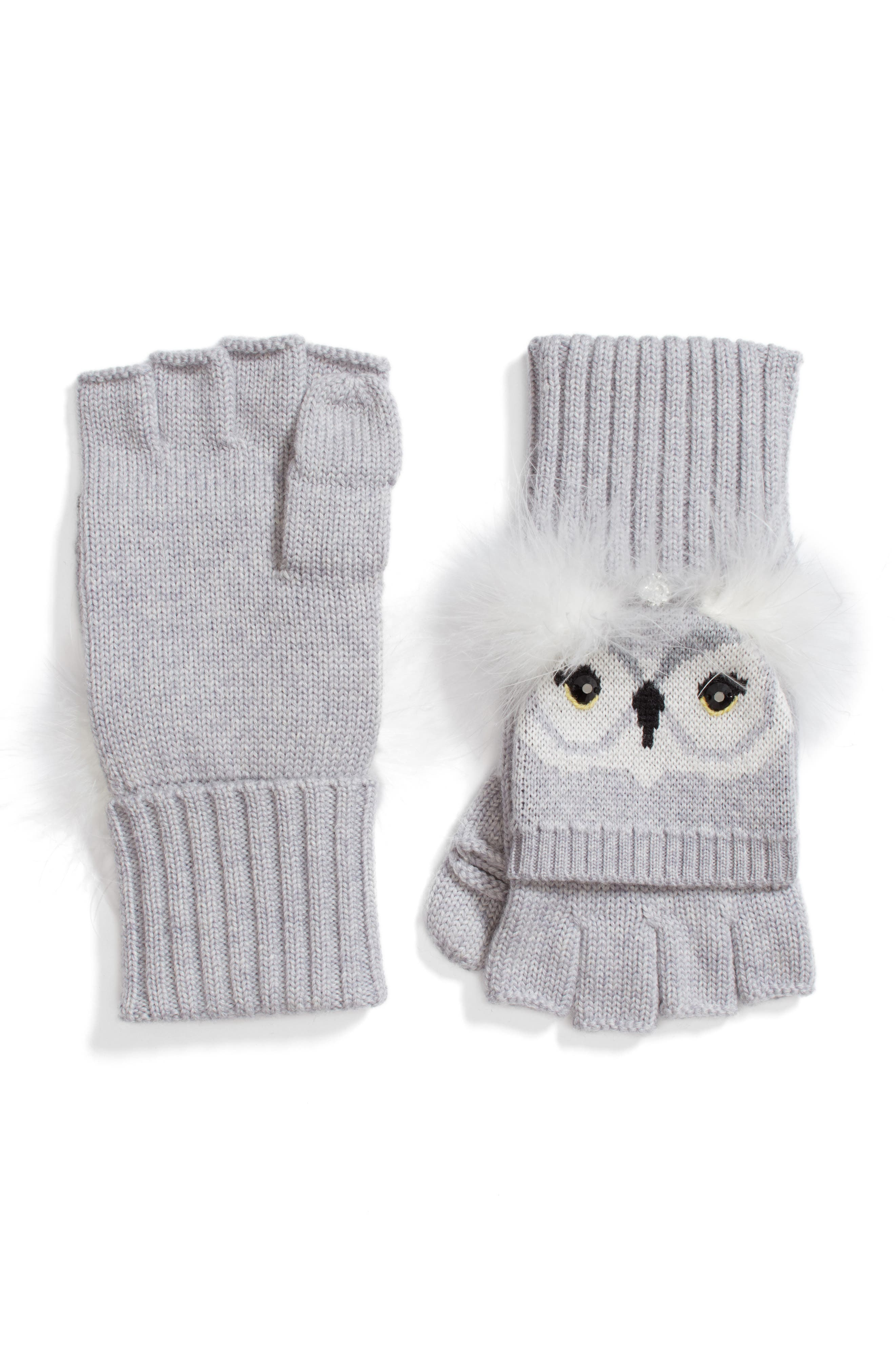 who me owl merino wool pop-top mittens,                             Main thumbnail 1, color,                             Heather Grey