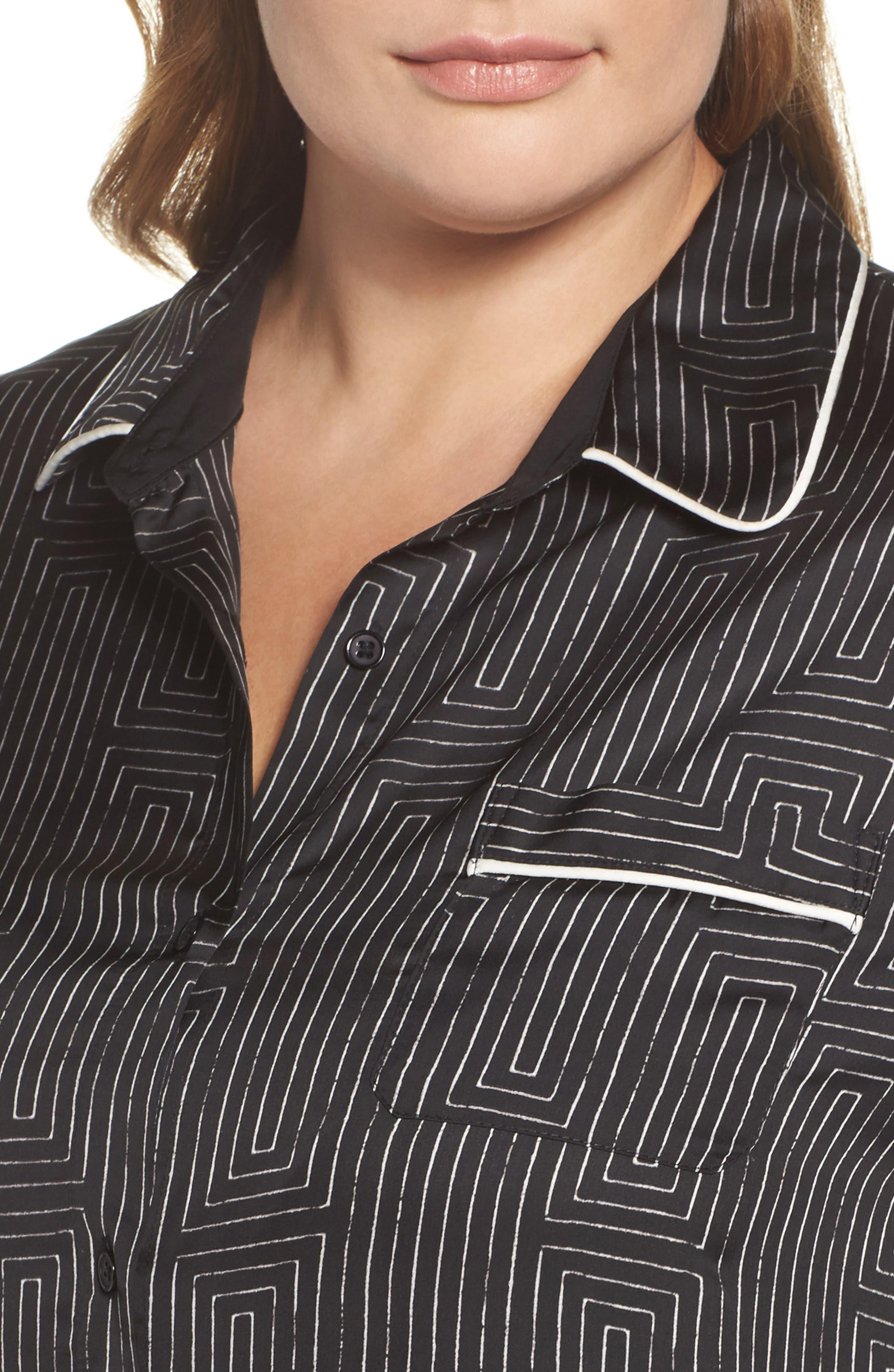 Alternate Image 4  - DKNY Washed Satin Maxi Sleep Shirt (Plus Size)