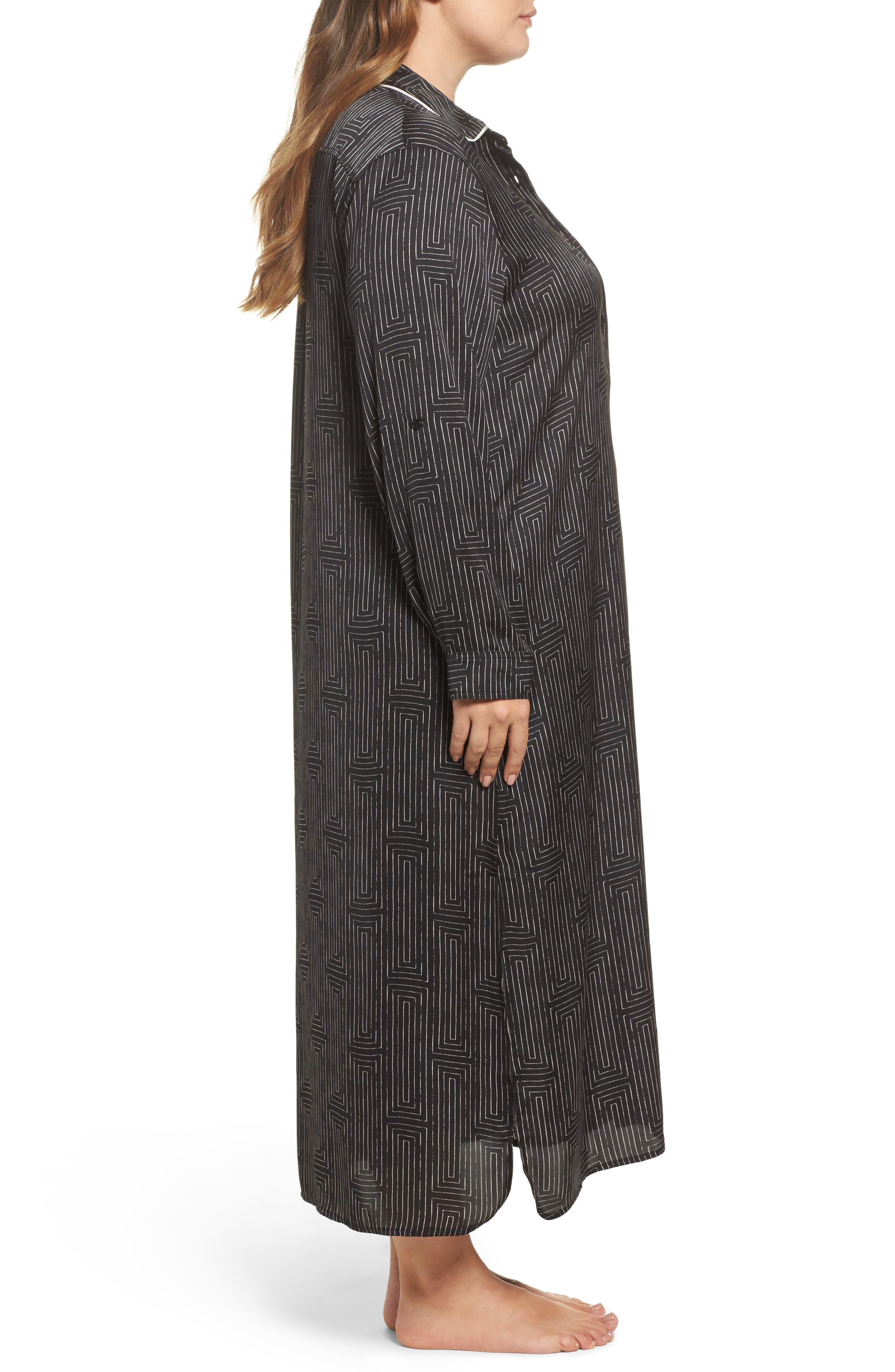 Alternate Image 3  - DKNY Washed Satin Maxi Sleep Shirt (Plus Size)