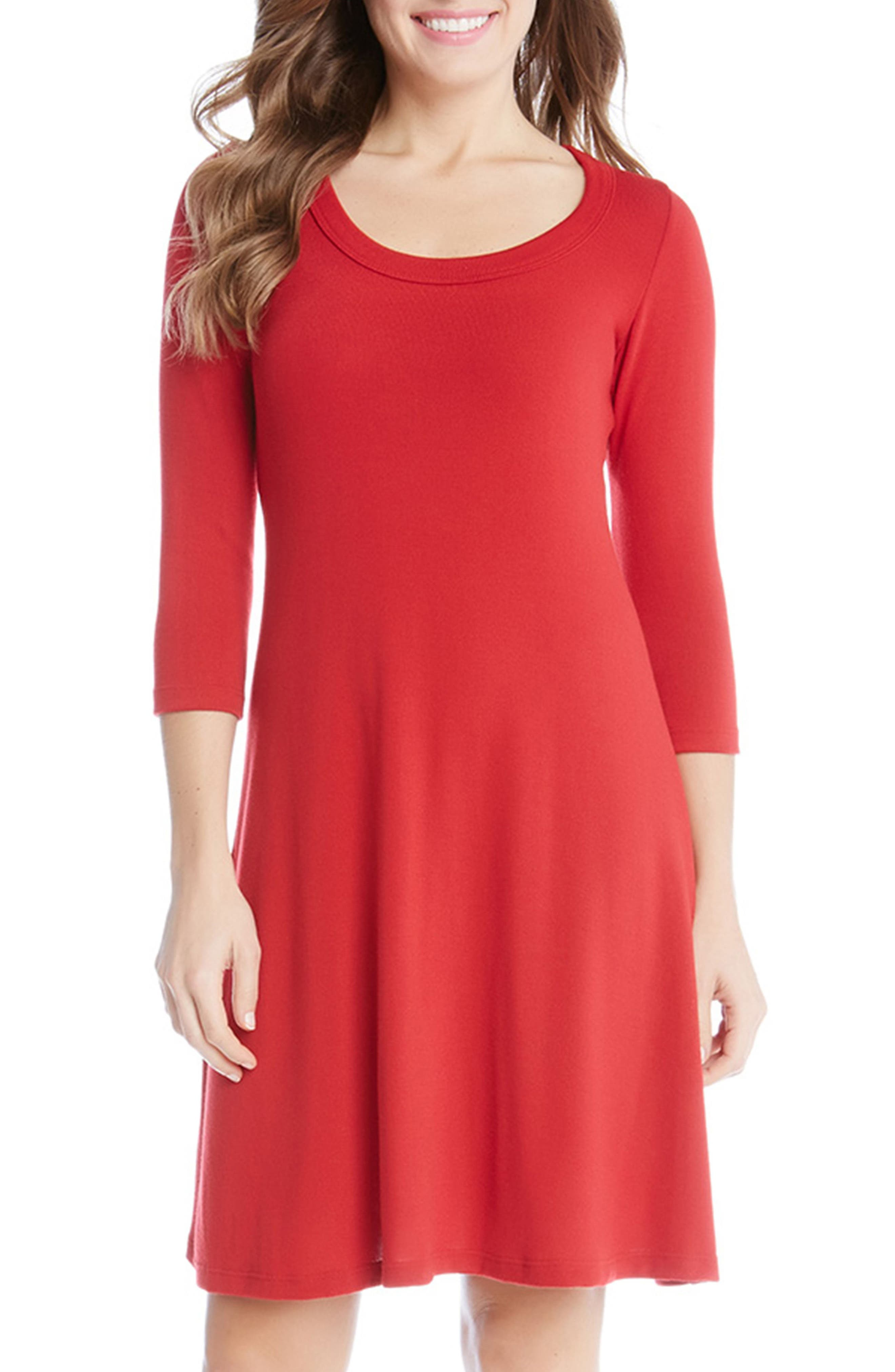 A-Line Sweater Dress,                             Main thumbnail 1, color,                             Red