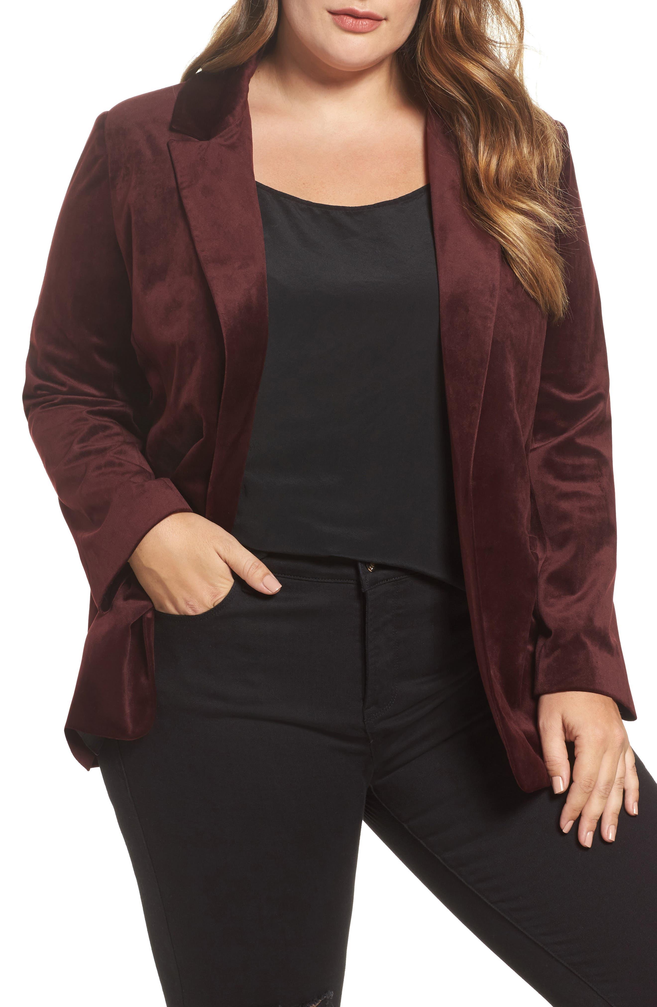 Velvet Blazer,                         Main,                         color, Burgundy