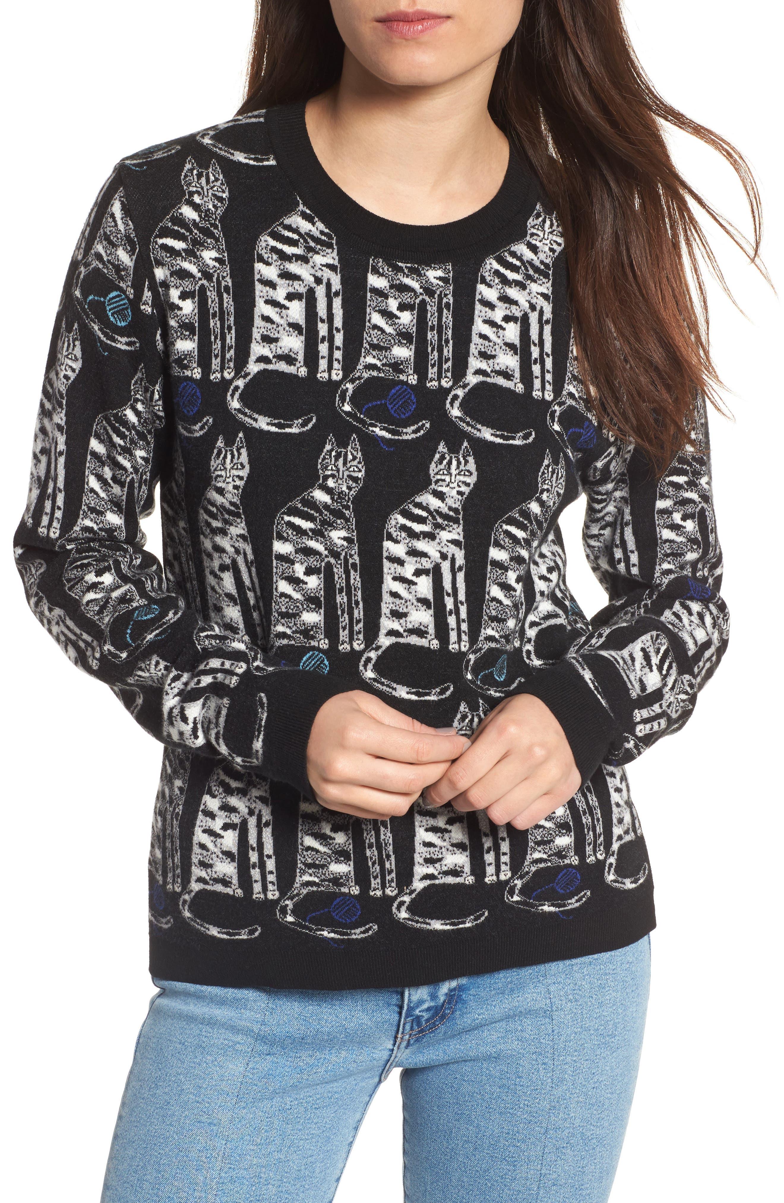 Intarsia Cat Sweater,                         Main,                         color, Black