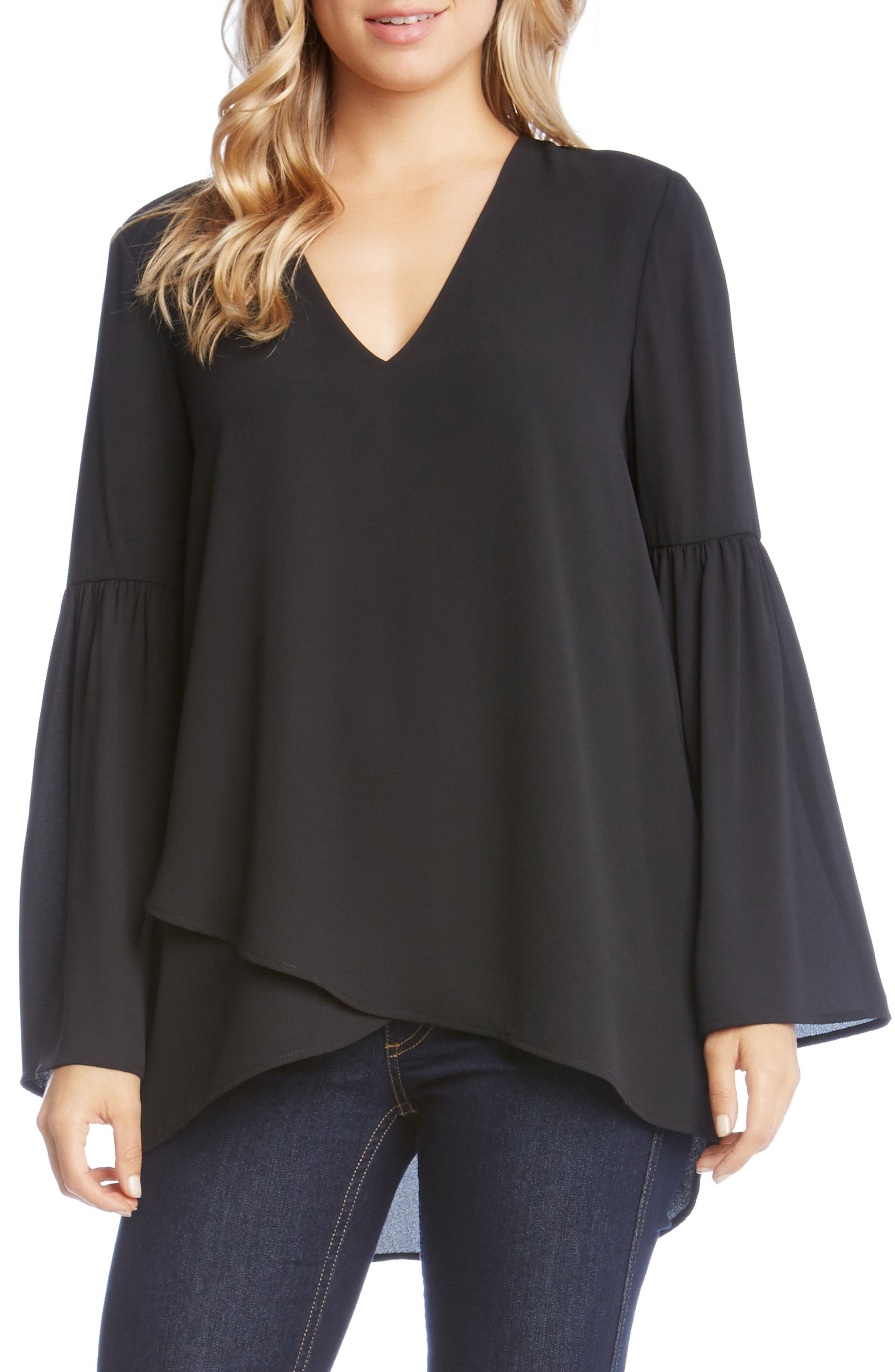Crossover Bell Sleeve Top,                         Main,                         color, Black