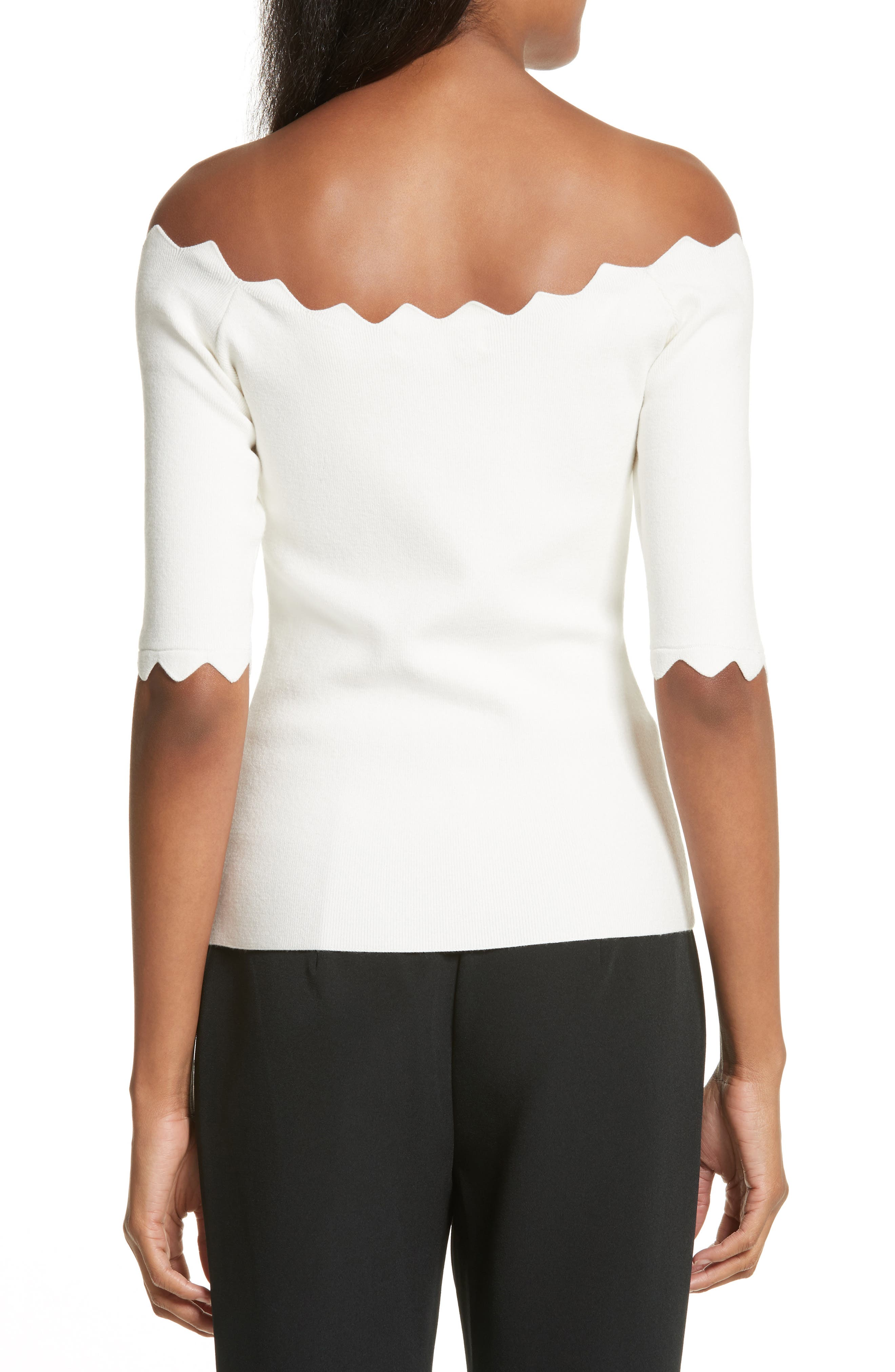 Alternate Image 2  - Milly Scalloped Off the Shoulder Sweater