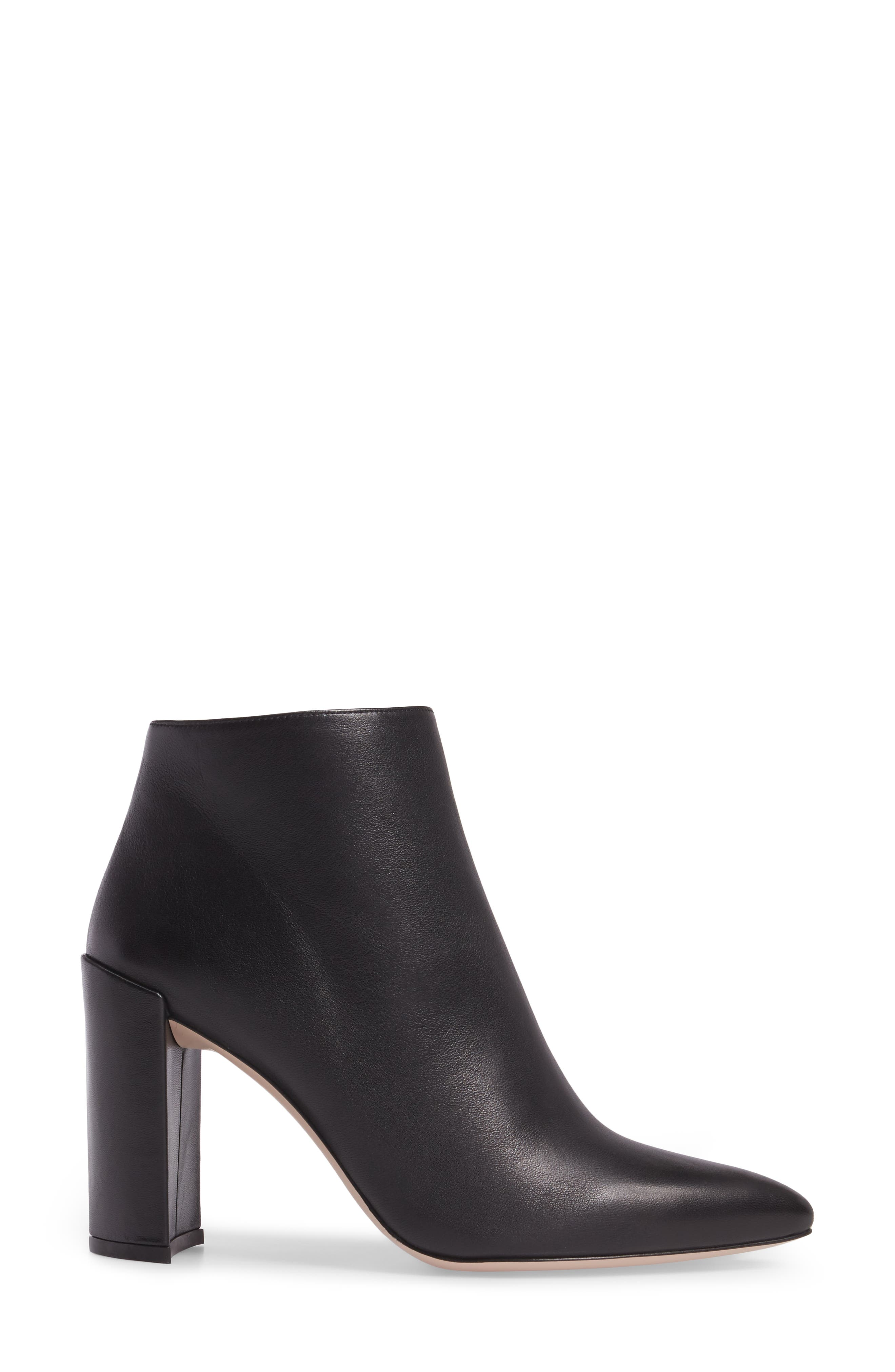 Pure Pointy Toe Bootie,                             Alternate thumbnail 3, color,                             Black Nappa