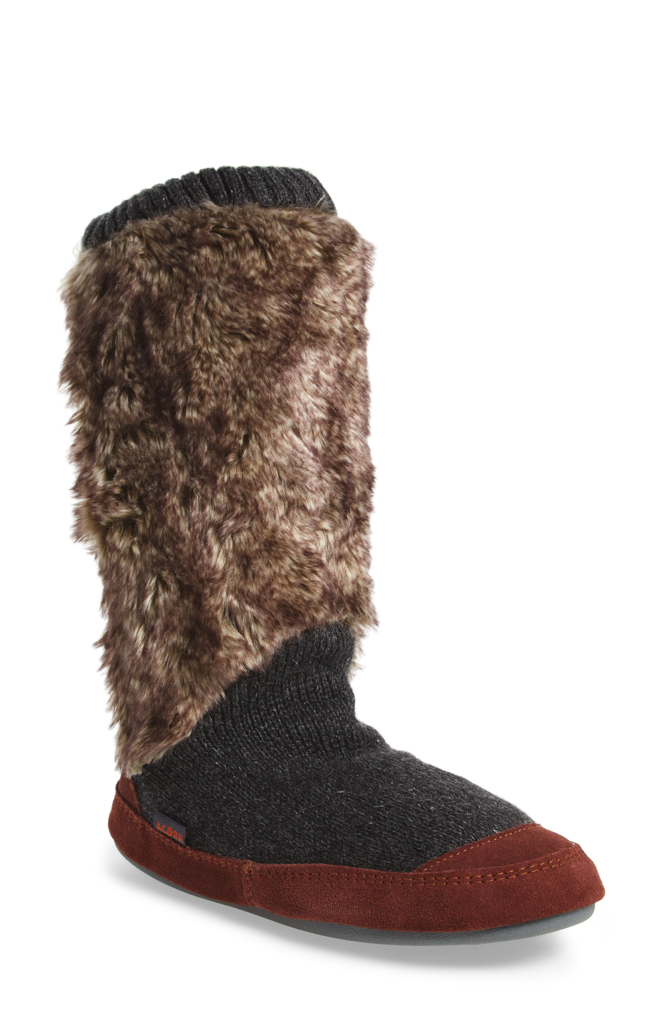 ACORN Slouch Slipper Boot in Charcoal Faux Fur