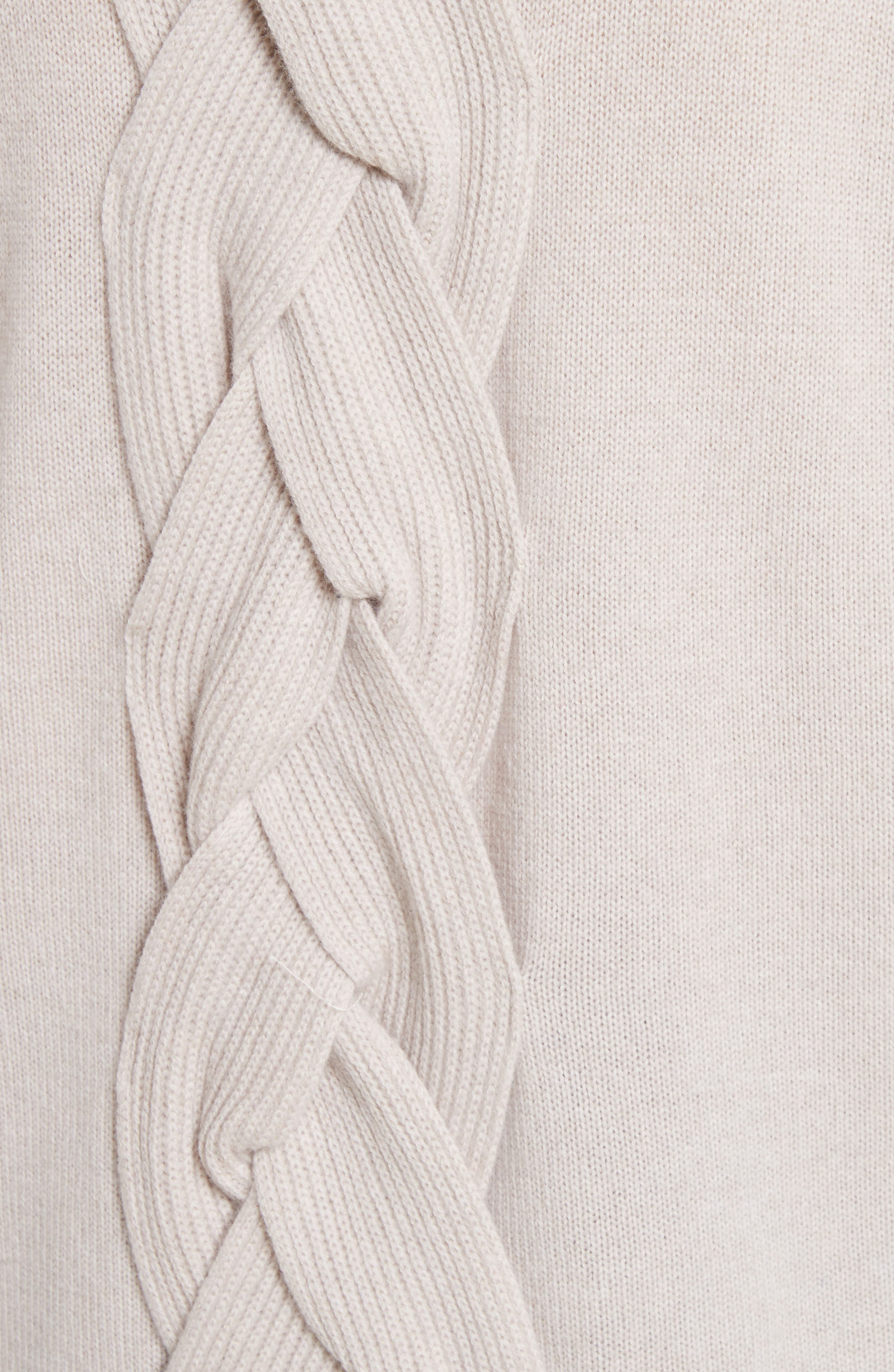 Fisherman Cable Knit Sweater,                             Alternate thumbnail 5, color,                             Oatmeal