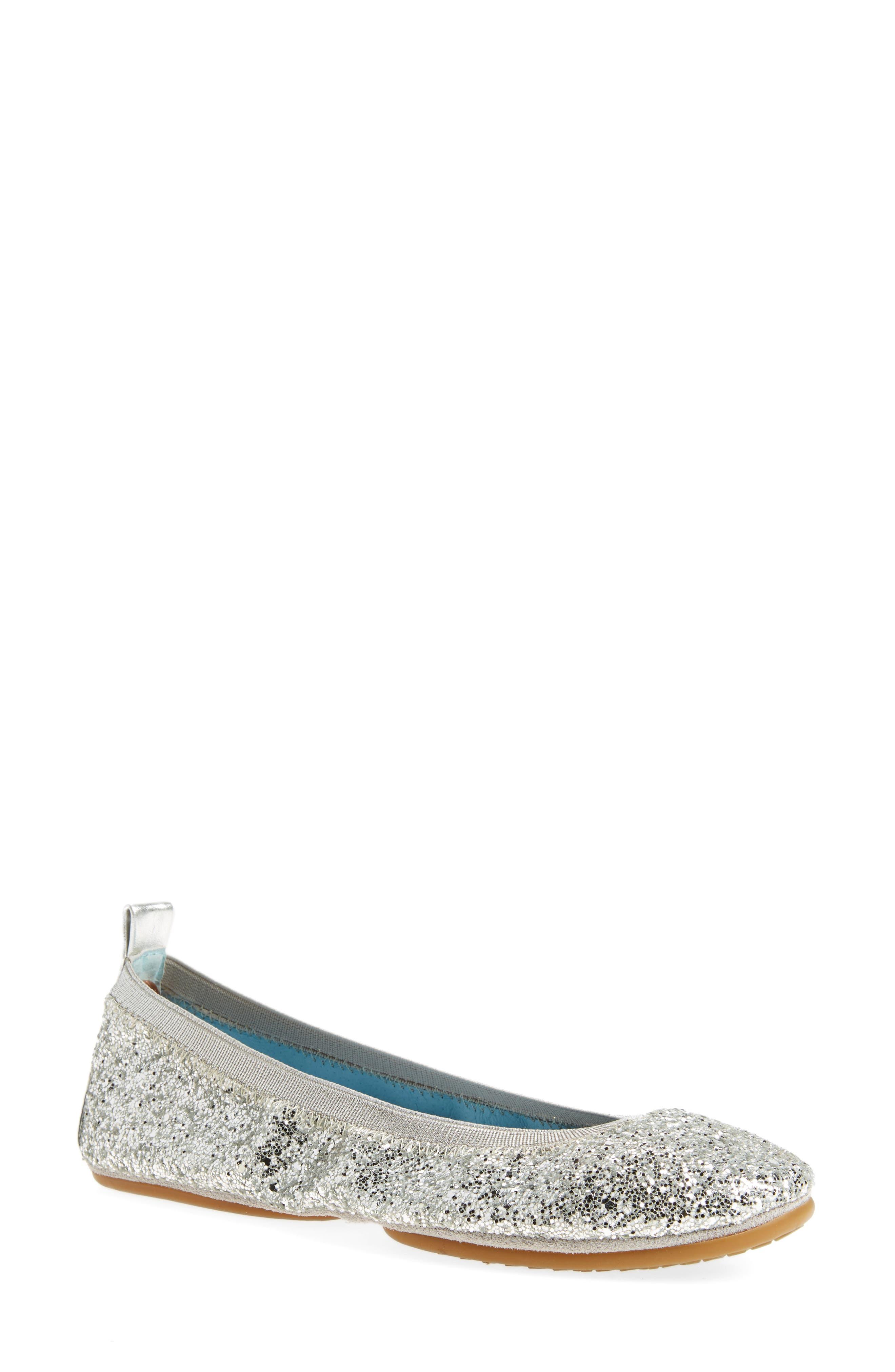 Serna Foldable Glitter Ballet Flat,                             Main thumbnail 1, color,                             Platinum Glitter