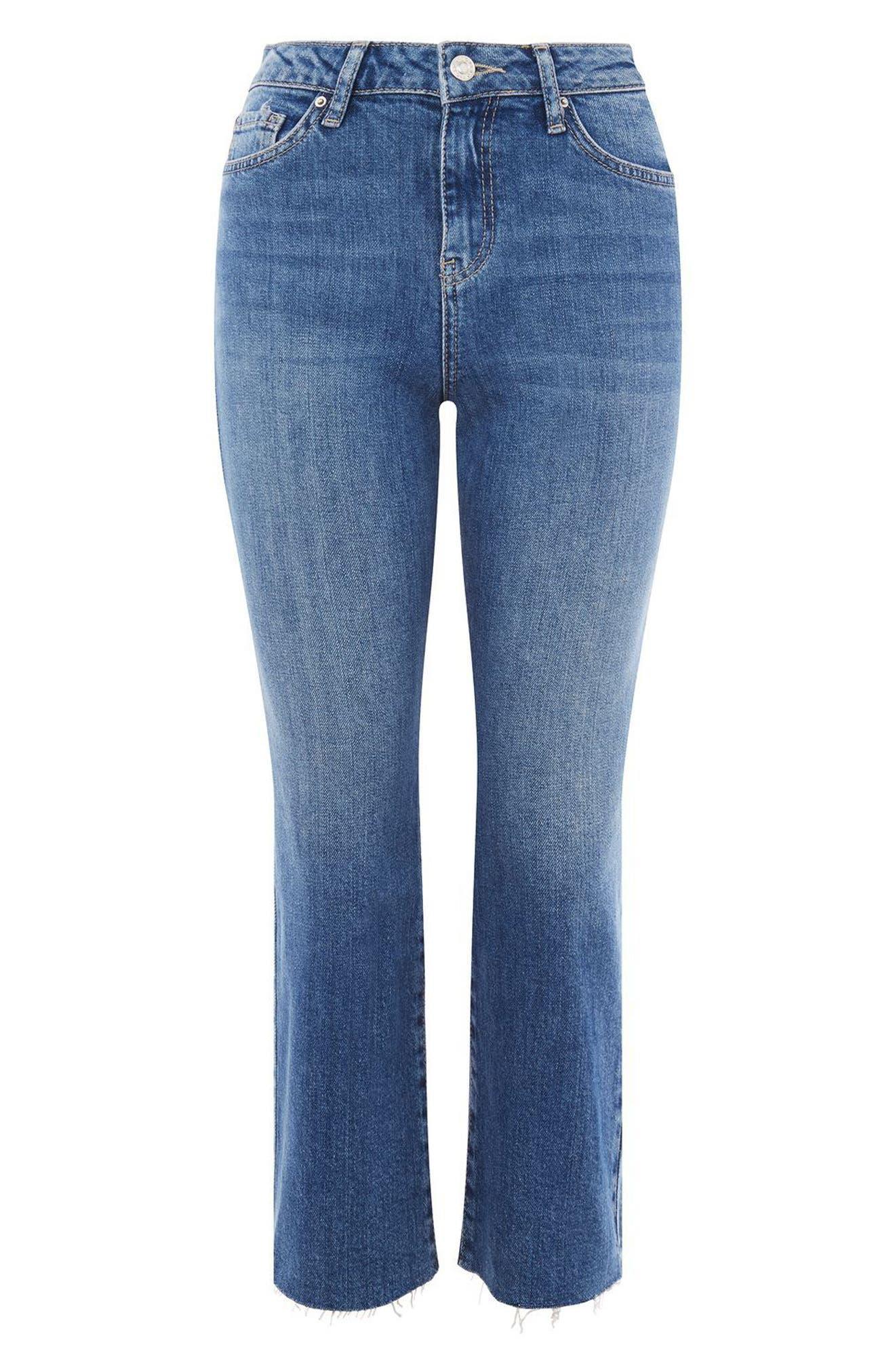 Dree Raw Hem Crop Jeans,                             Alternate thumbnail 3, color,                             Mid Stone
