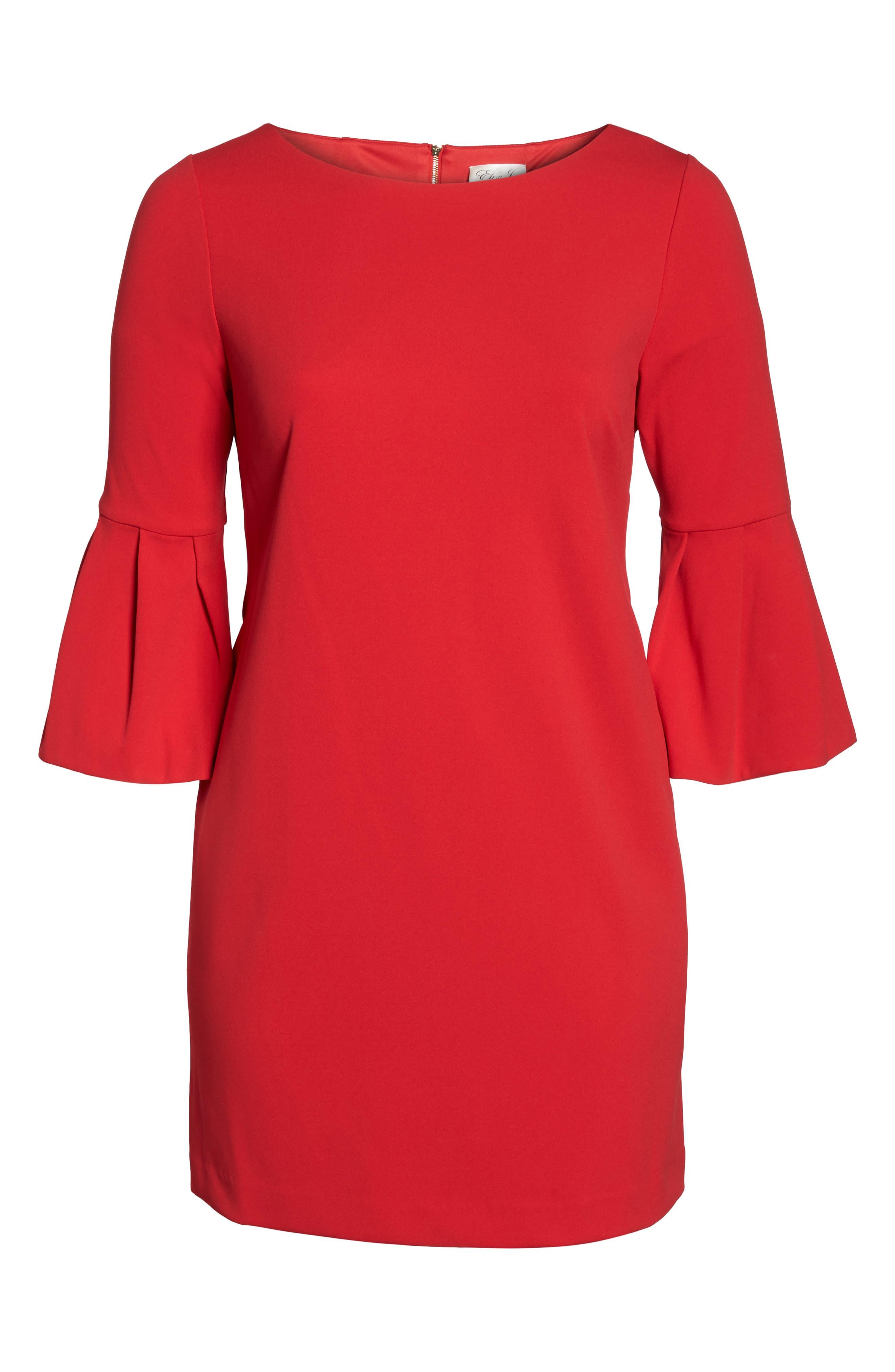 Bell Sleeve Shift Dress,                             Alternate thumbnail 5, color,                             Red
