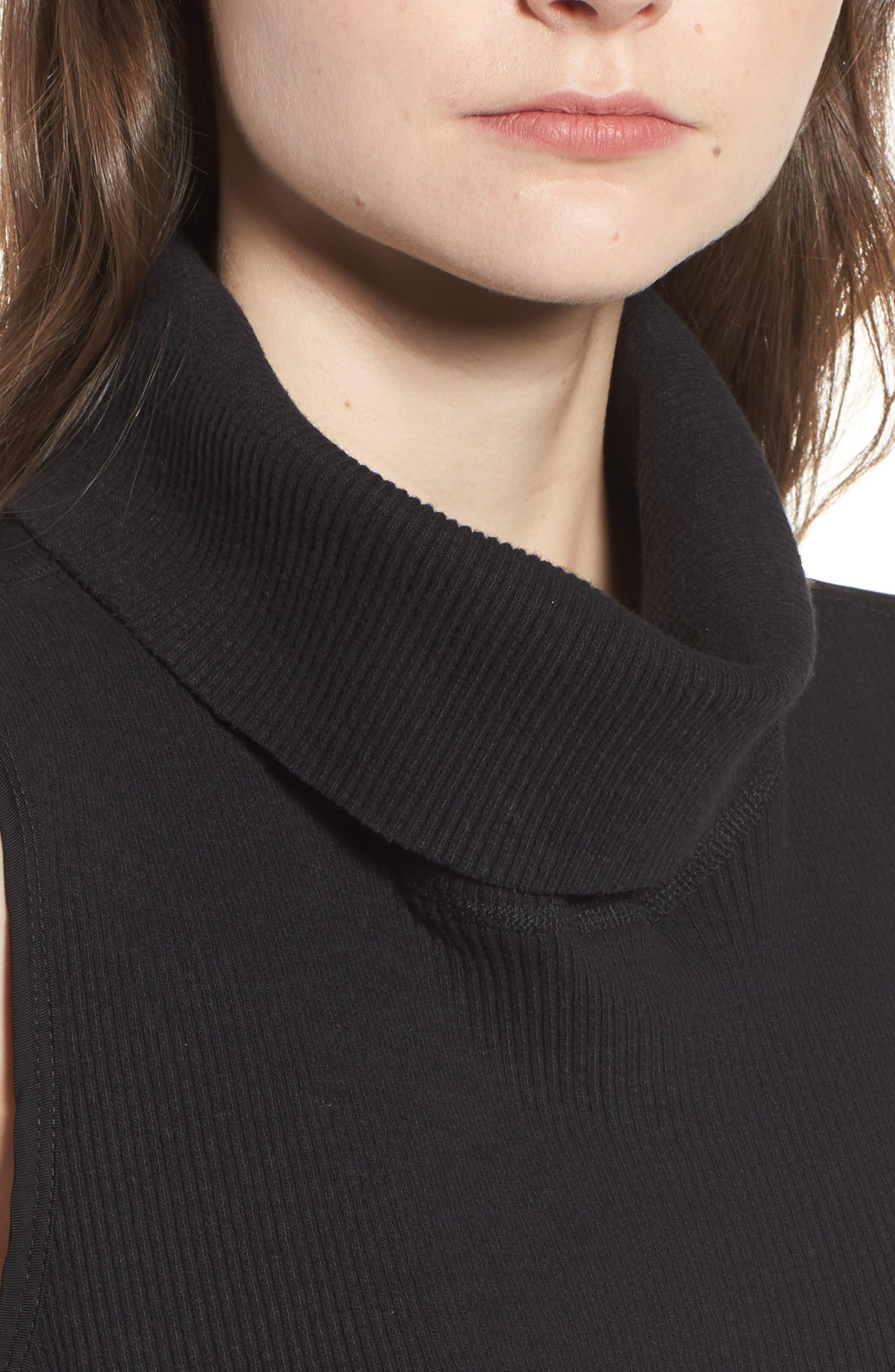 Mixed Media Turtleneck Shift Dress,                             Alternate thumbnail 4, color,                             Black