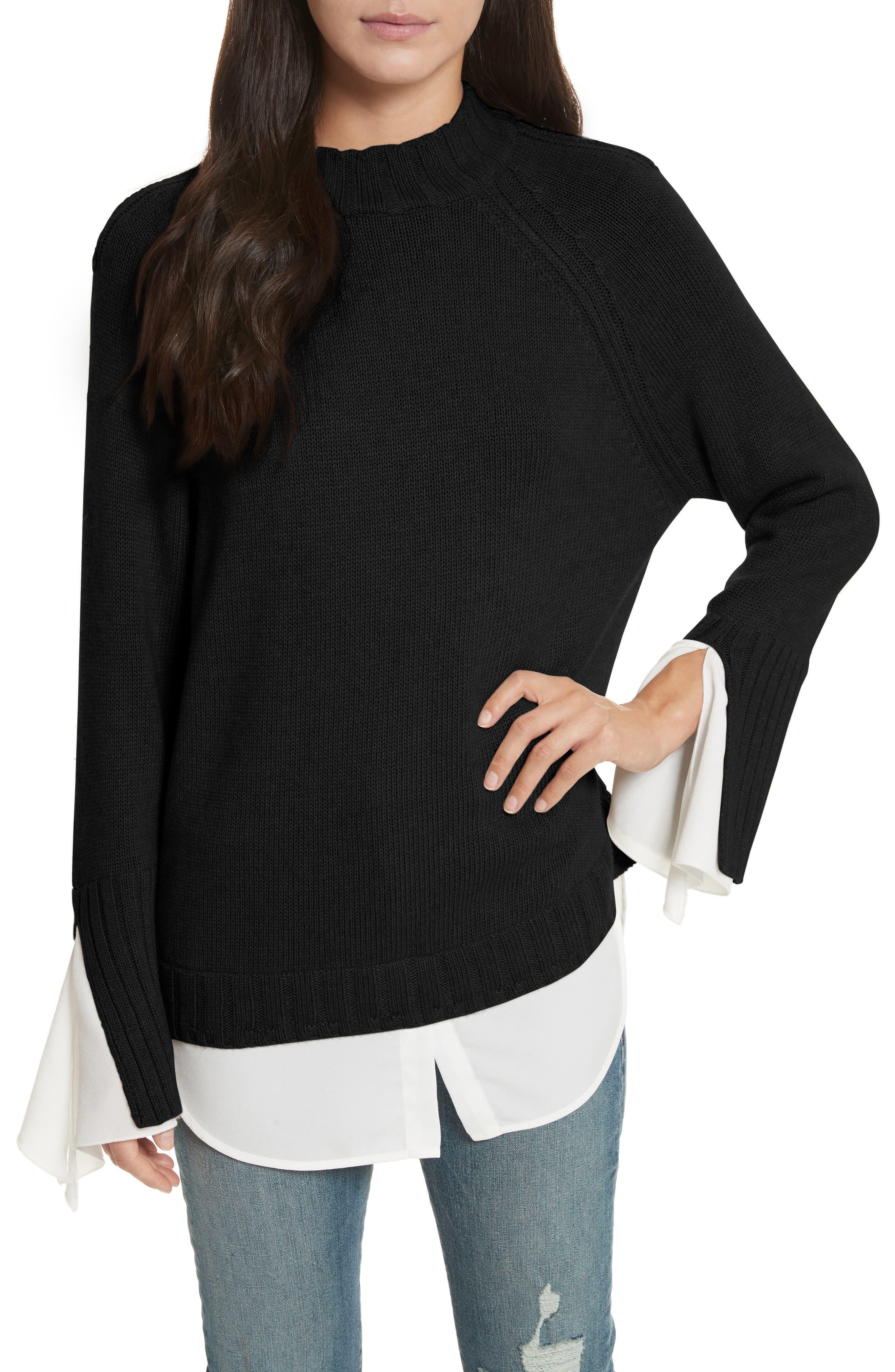 Remi Layered Pullover,                         Main,                         color, Black/ White