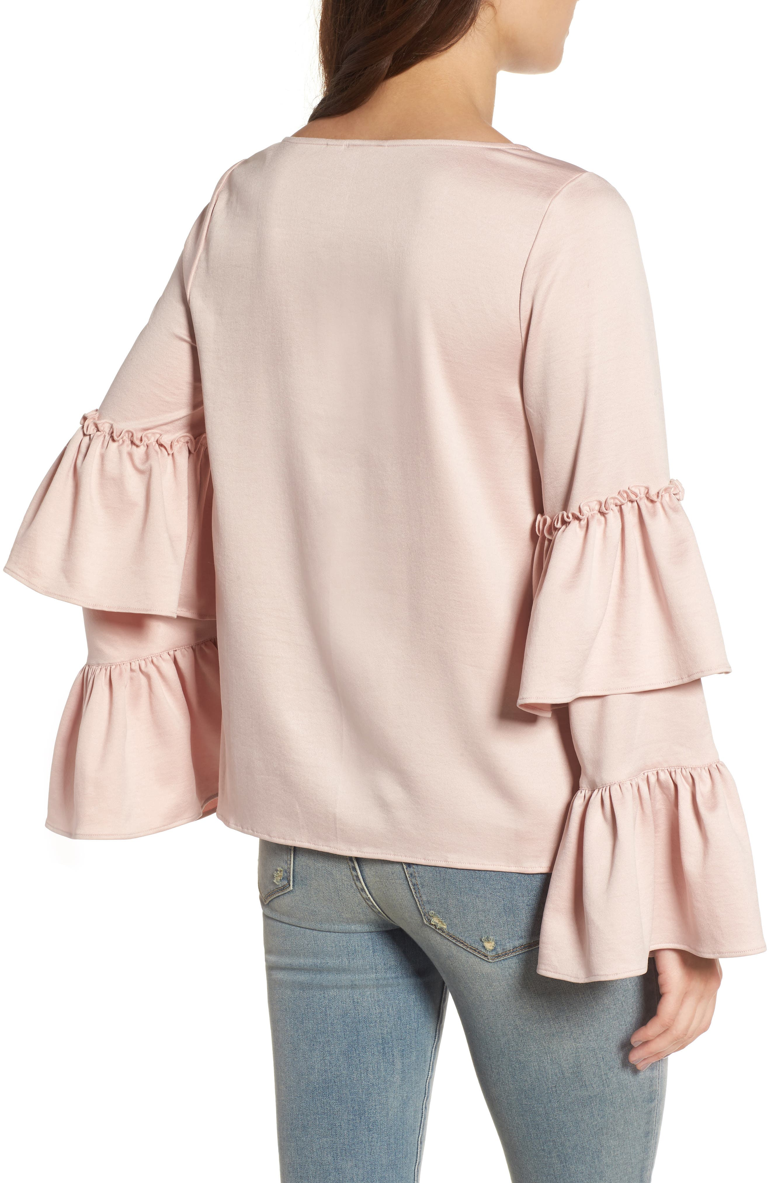 Ruffle Sleeve Satin Blouse,                             Alternate thumbnail 2, color,                             Pink Peach