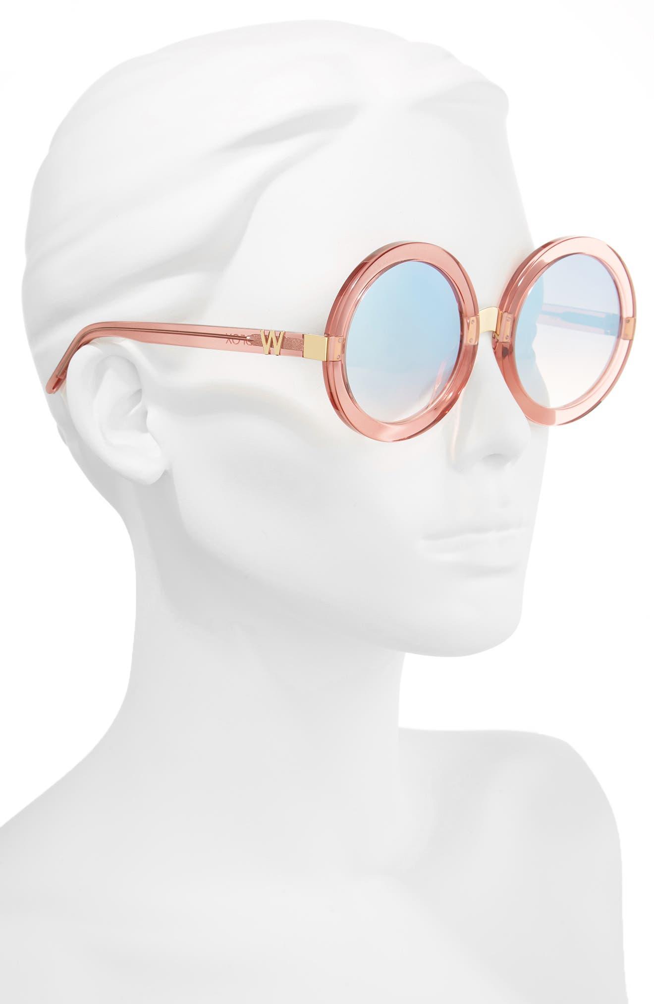 'Malibu Deluxe' 55mm Retro Sunglasses,                             Alternate thumbnail 2, color,                             Rosewater/ Silver Mirror