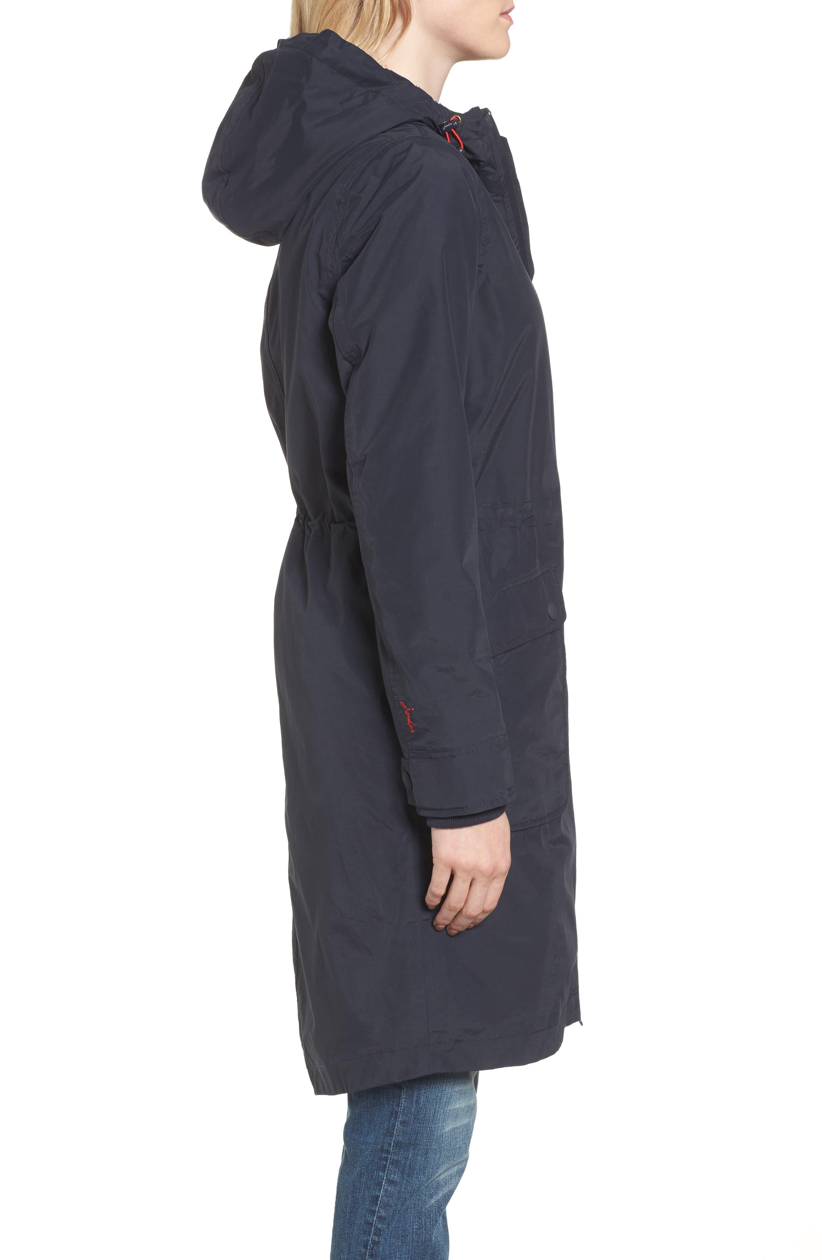 Hooded Fleece Lined Raincoat,                             Alternate thumbnail 3, color,                             Marine Navy