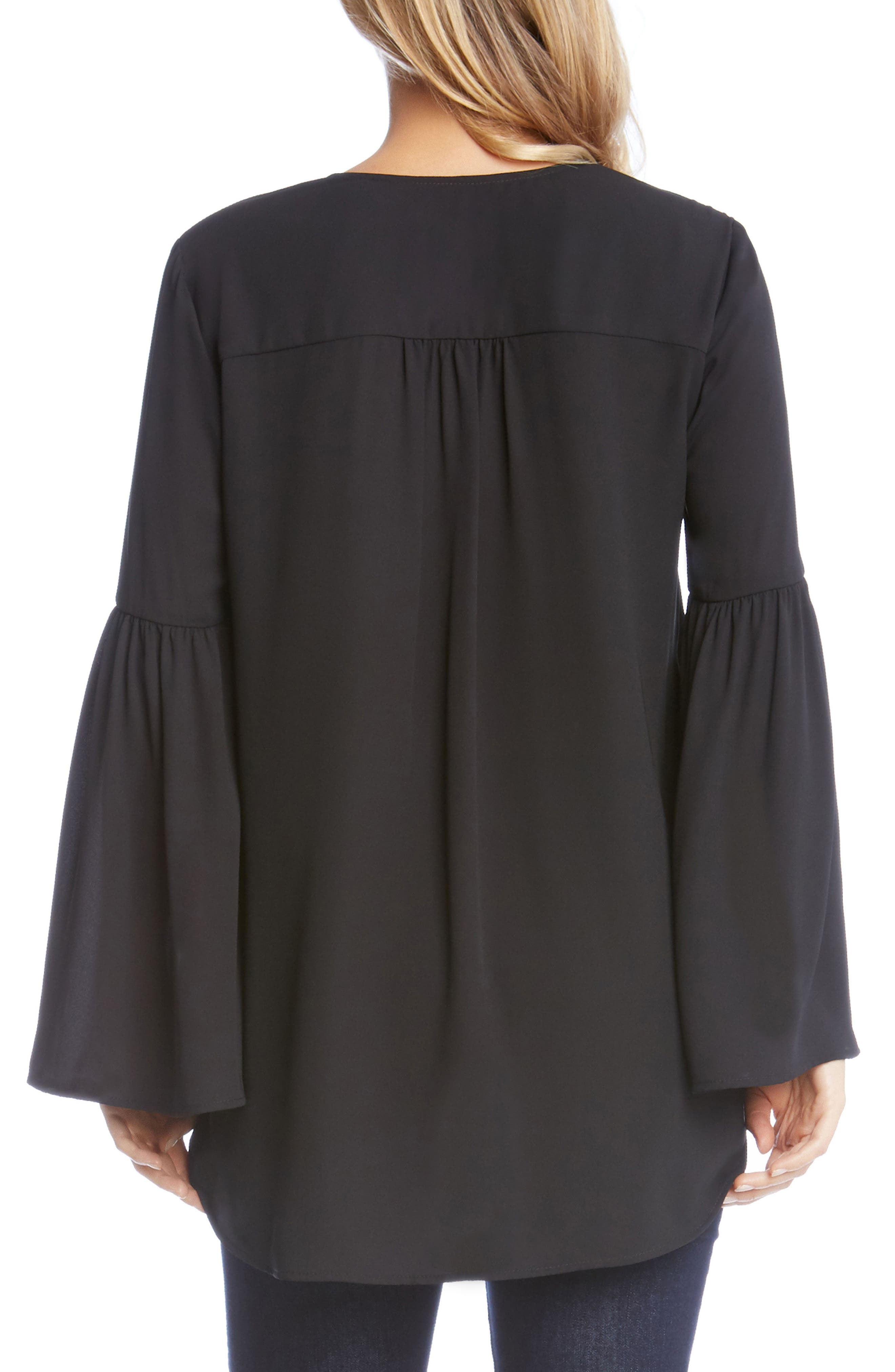 Crossover Bell Sleeve Top,                             Alternate thumbnail 2, color,                             Black