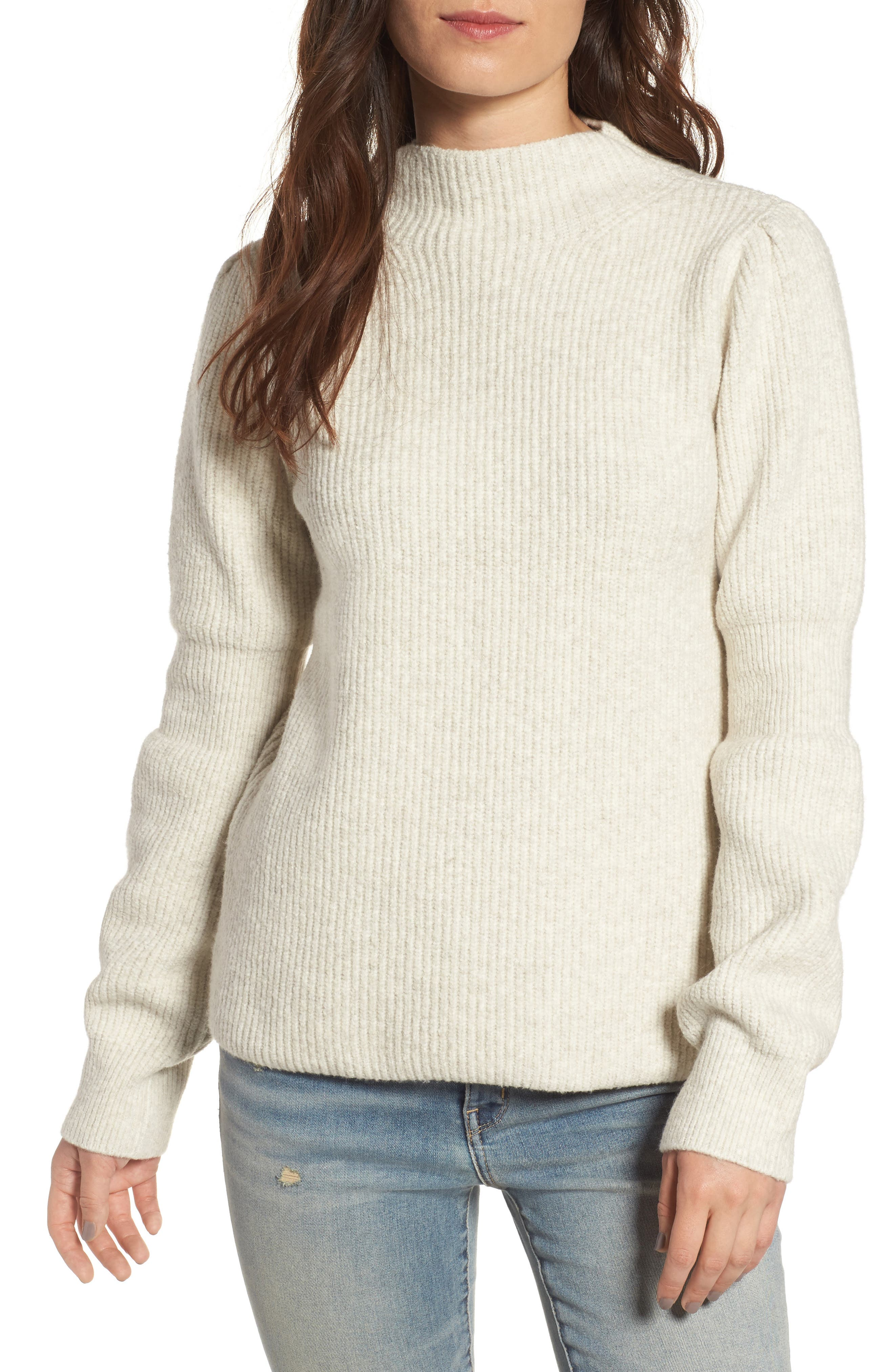 Ribbed Mock Neck Sweater,                             Main thumbnail 1, color,                             Beige Oatmeal Heather