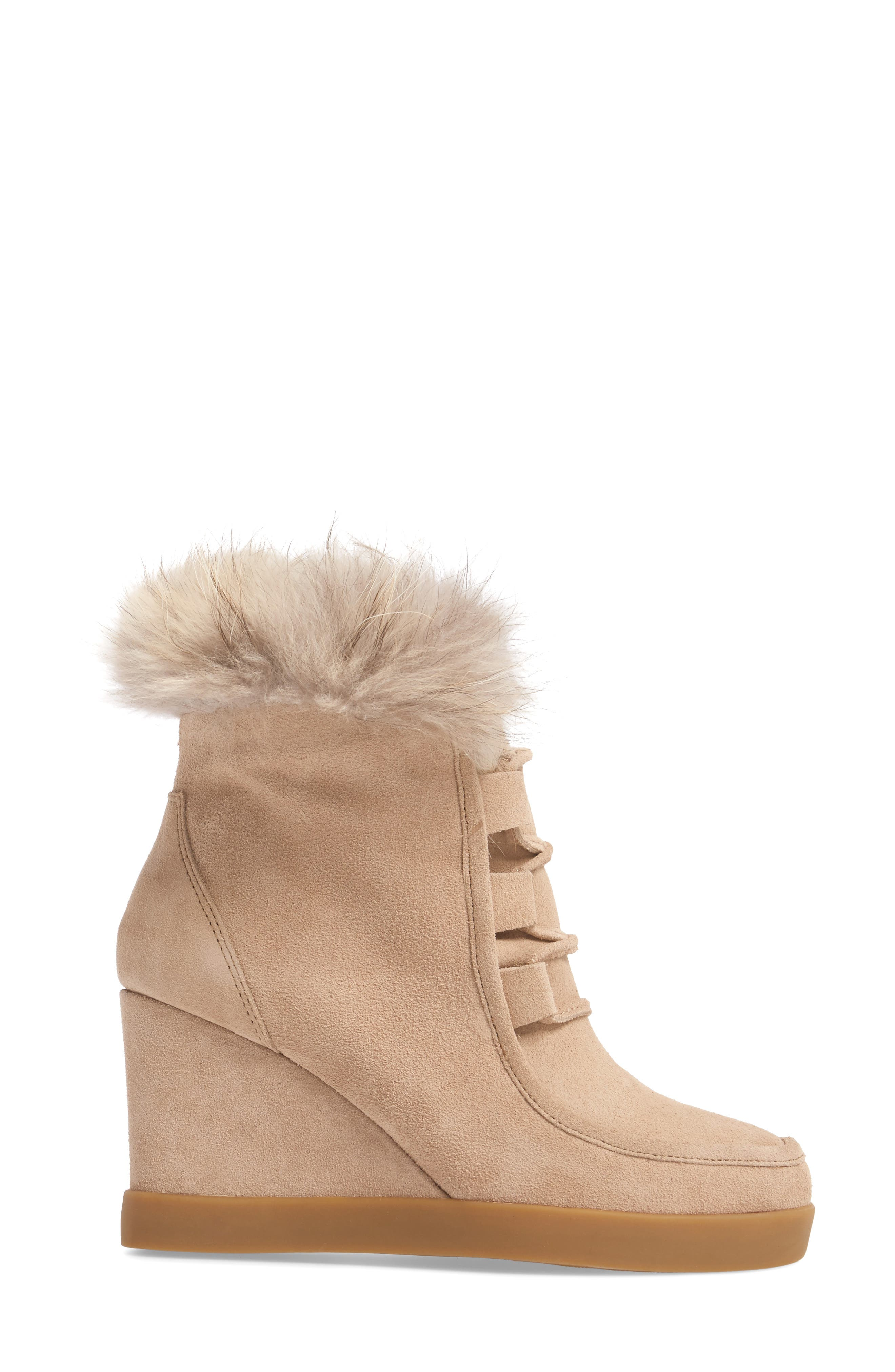 Holly Wedge Bootie with Genuine Fox Fur Trim,                             Alternate thumbnail 3, color,                             Natural Suede