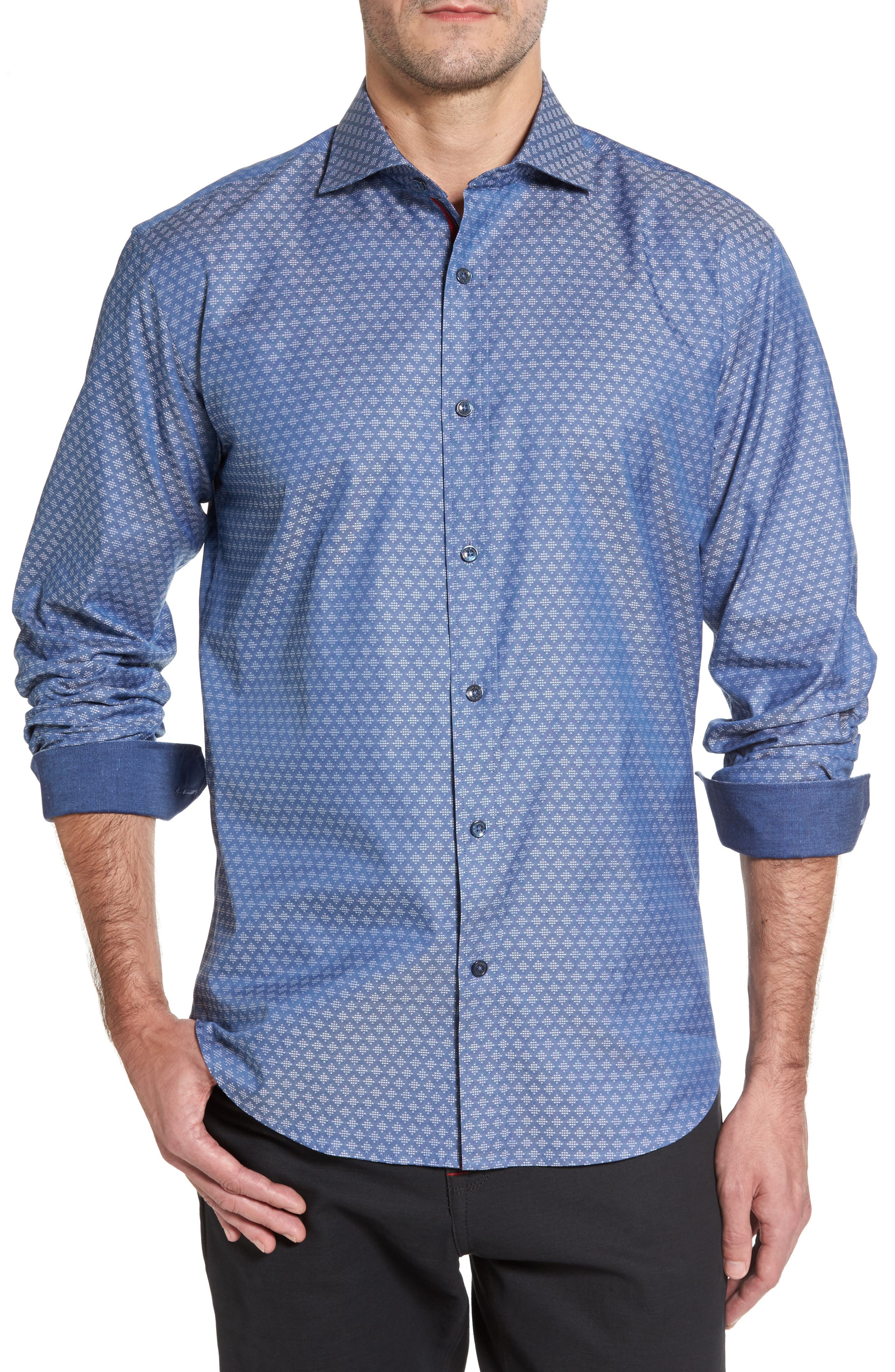 Shaped Fit Dobby Diamond Sport Shirt,                         Main,                         color, Steel