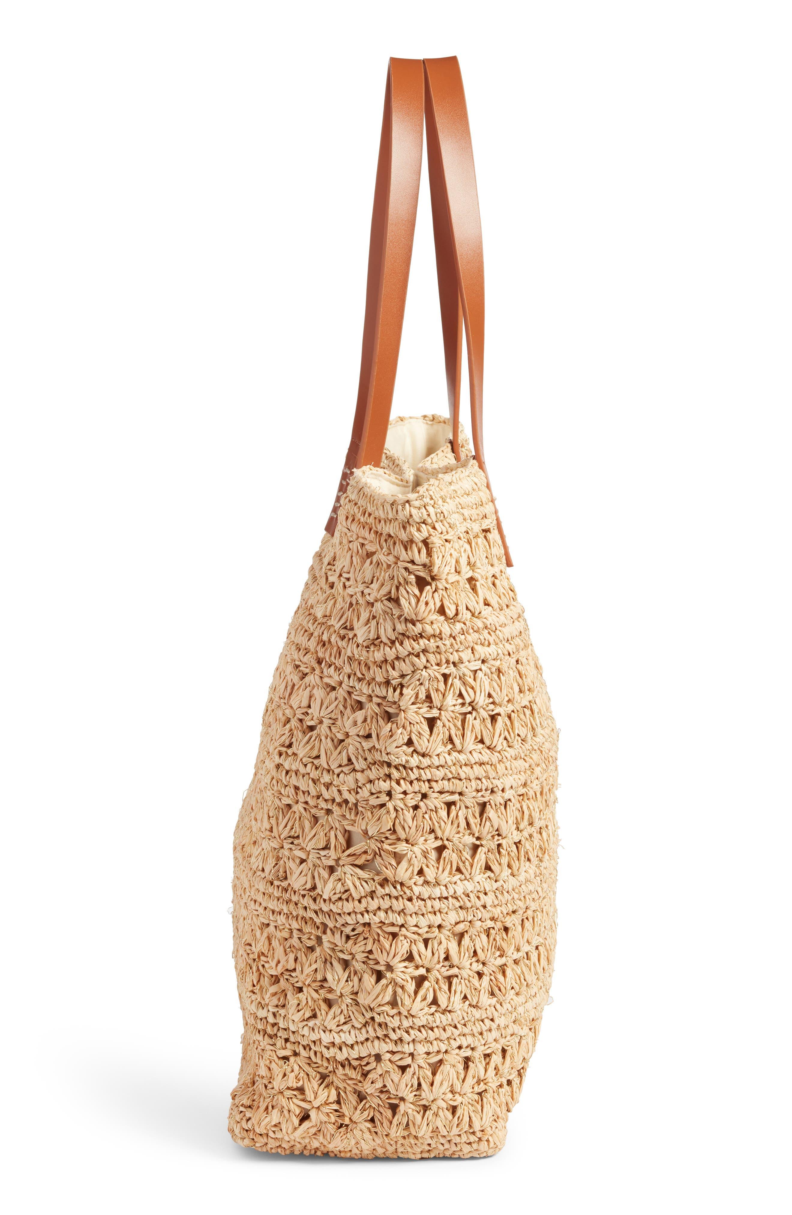 Packable Raffia Crochet Tote,                             Alternate thumbnail 5, color,                             Natural/ Gold