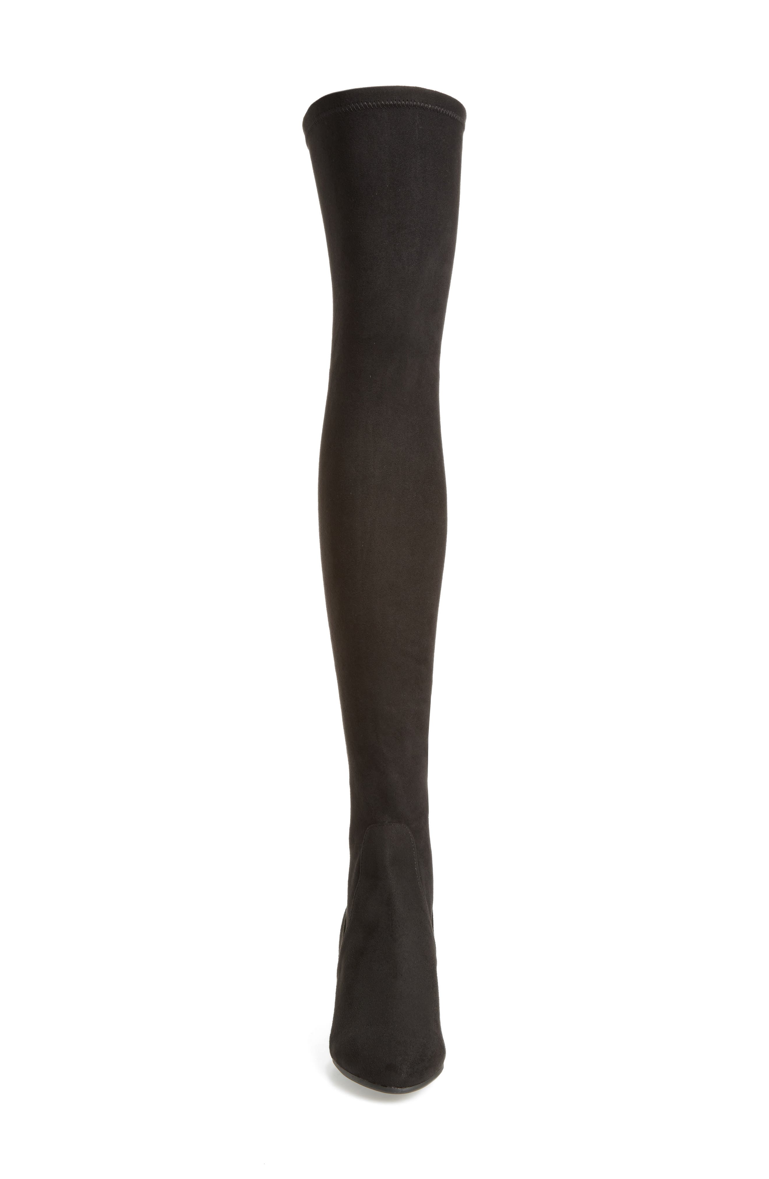 Isaac Over the Knee Boot,                             Alternate thumbnail 4, color,                             Black Suede