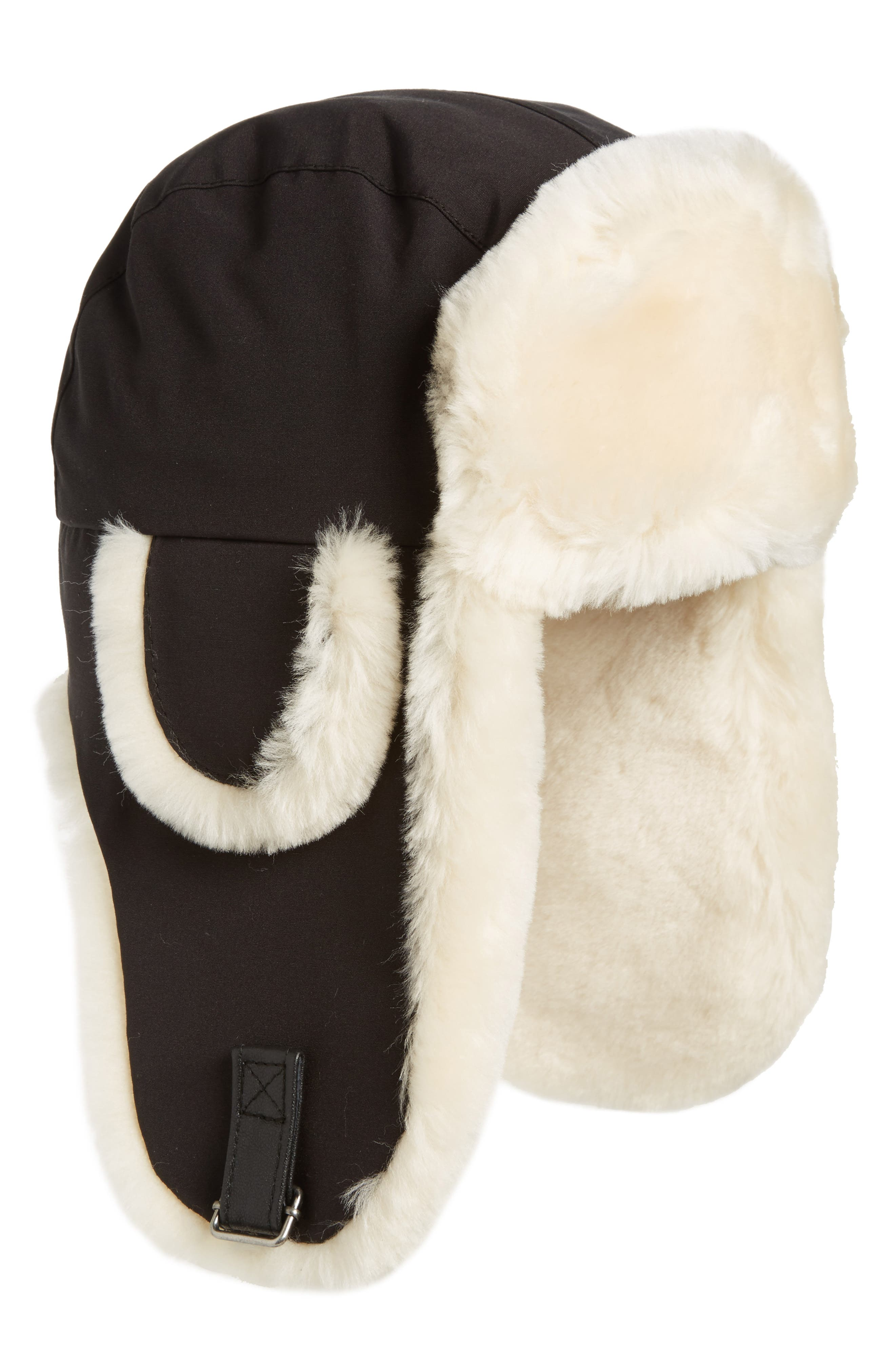 Genuine Shearling Copilot Hat,                         Main,                         color, Black