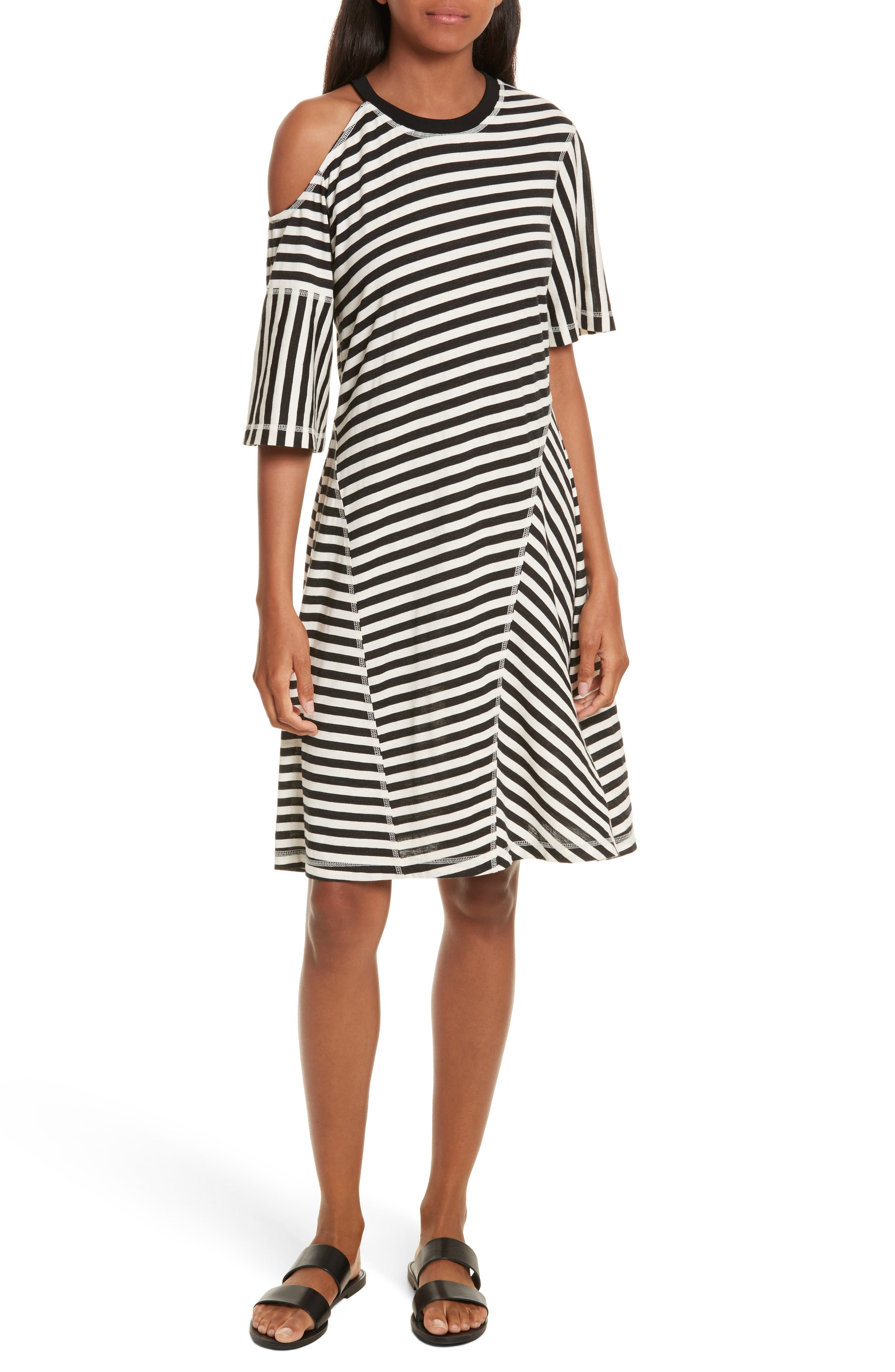 Stripe Jersey Cold Shoulder Dress,                             Main thumbnail 1, color,                             Black/ Cream