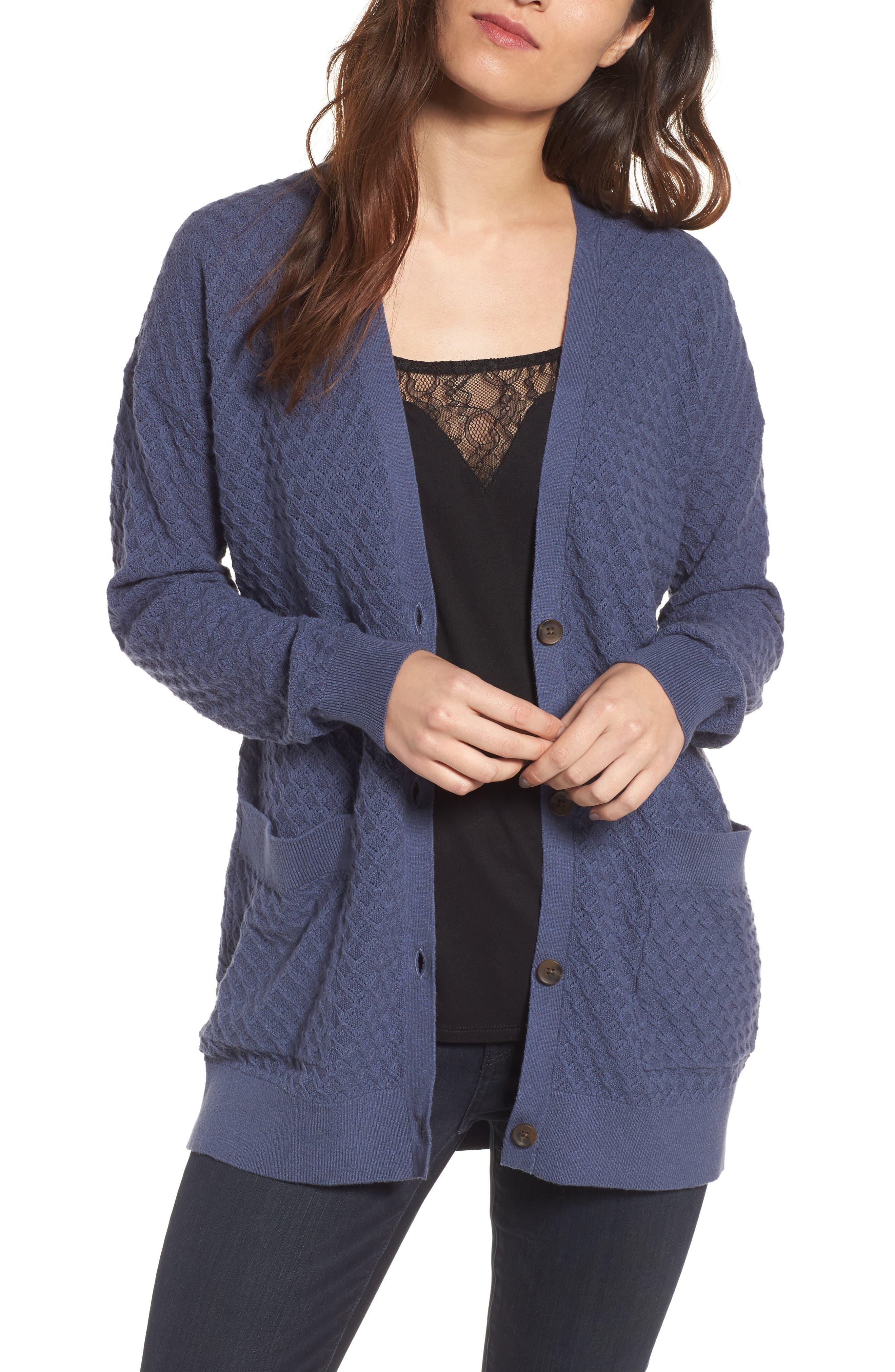 Pointelle Cardigan Sweater,                             Main thumbnail 1, color,                             Blue Vintage
