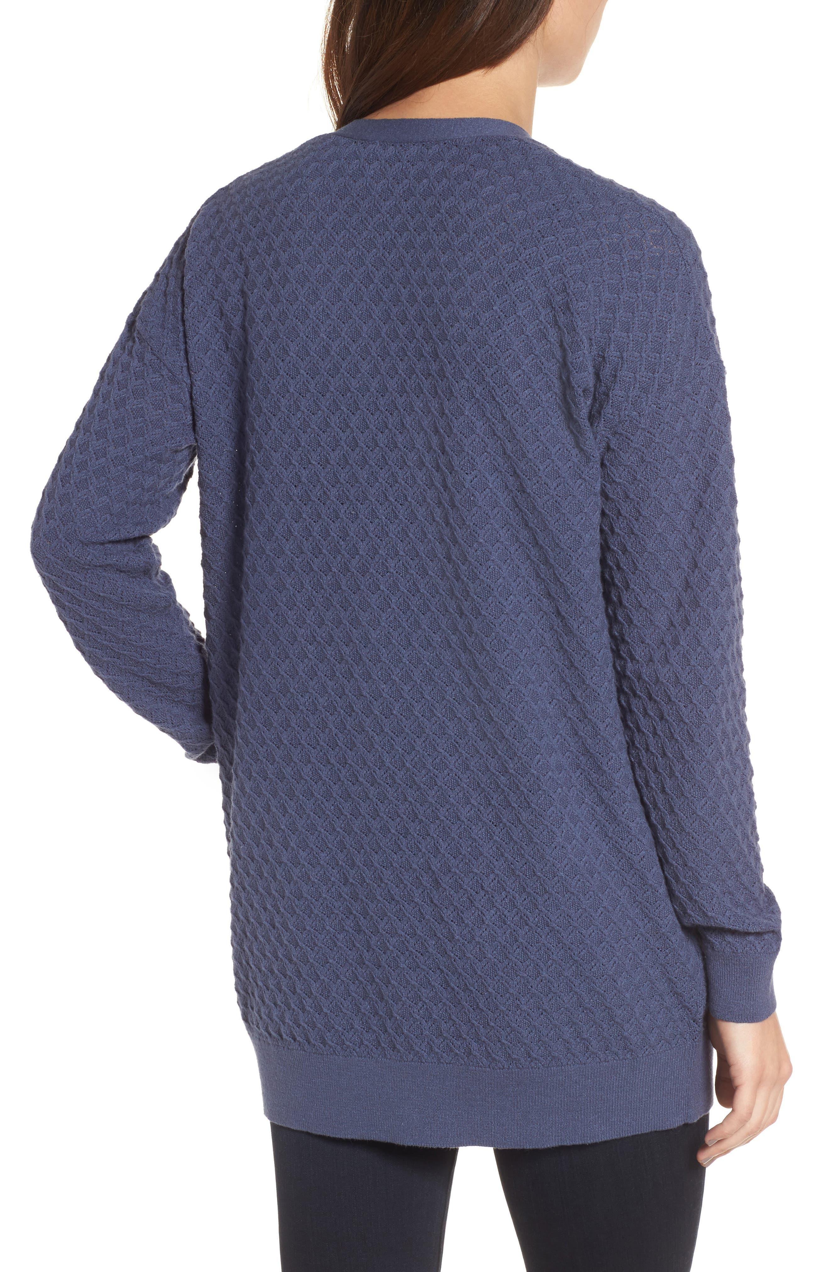Pointelle Cardigan Sweater,                             Alternate thumbnail 2, color,                             Blue Vintage