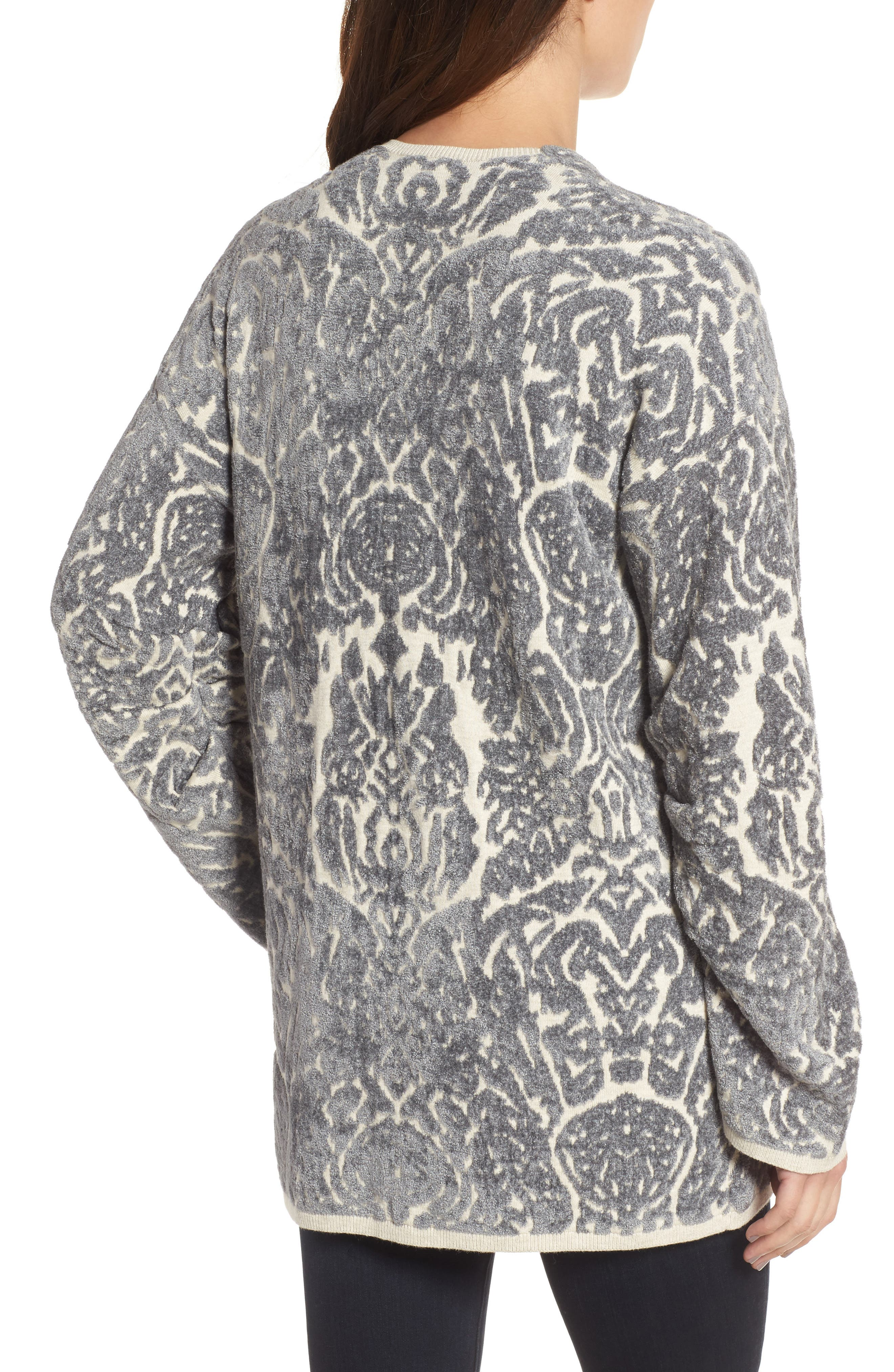 Embroidered Cardigan,                             Alternate thumbnail 2, color,                             Beige Oatmeal Heather Combo
