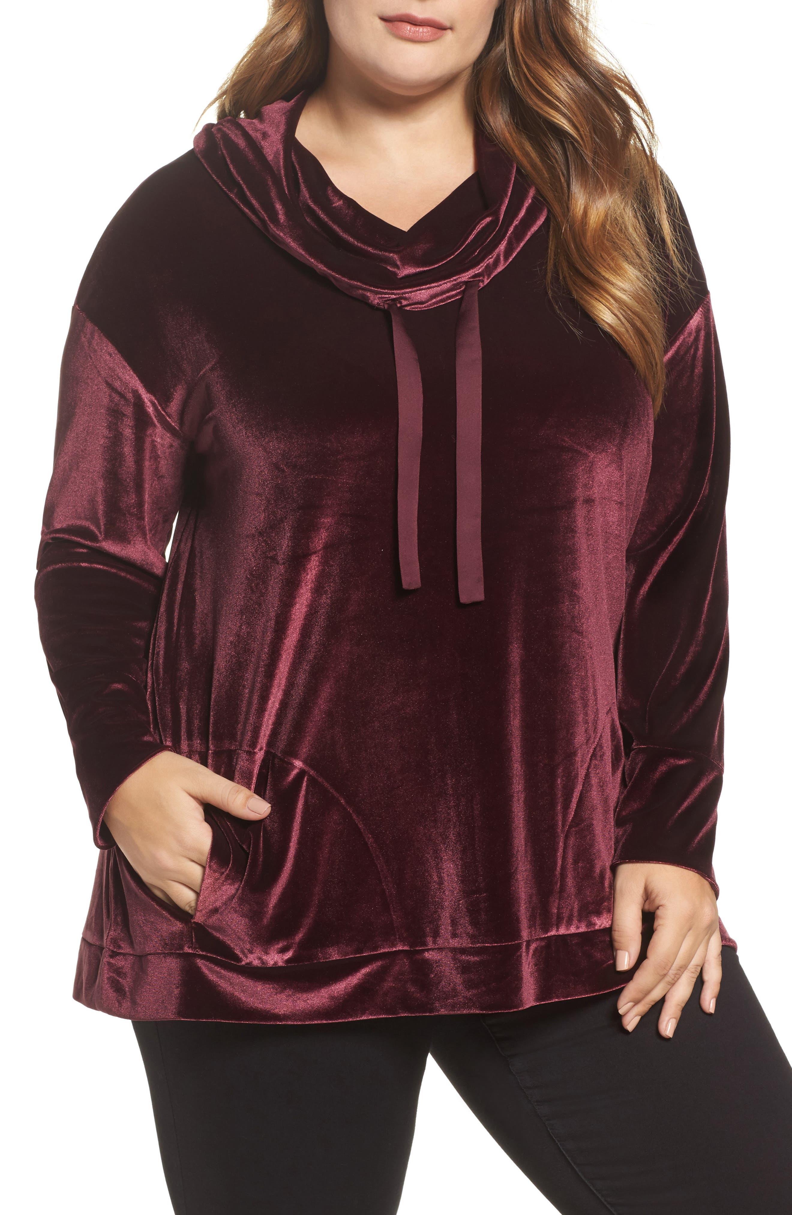 Cowl Neck Velour Top,                         Main,                         color, Burgundy Stem