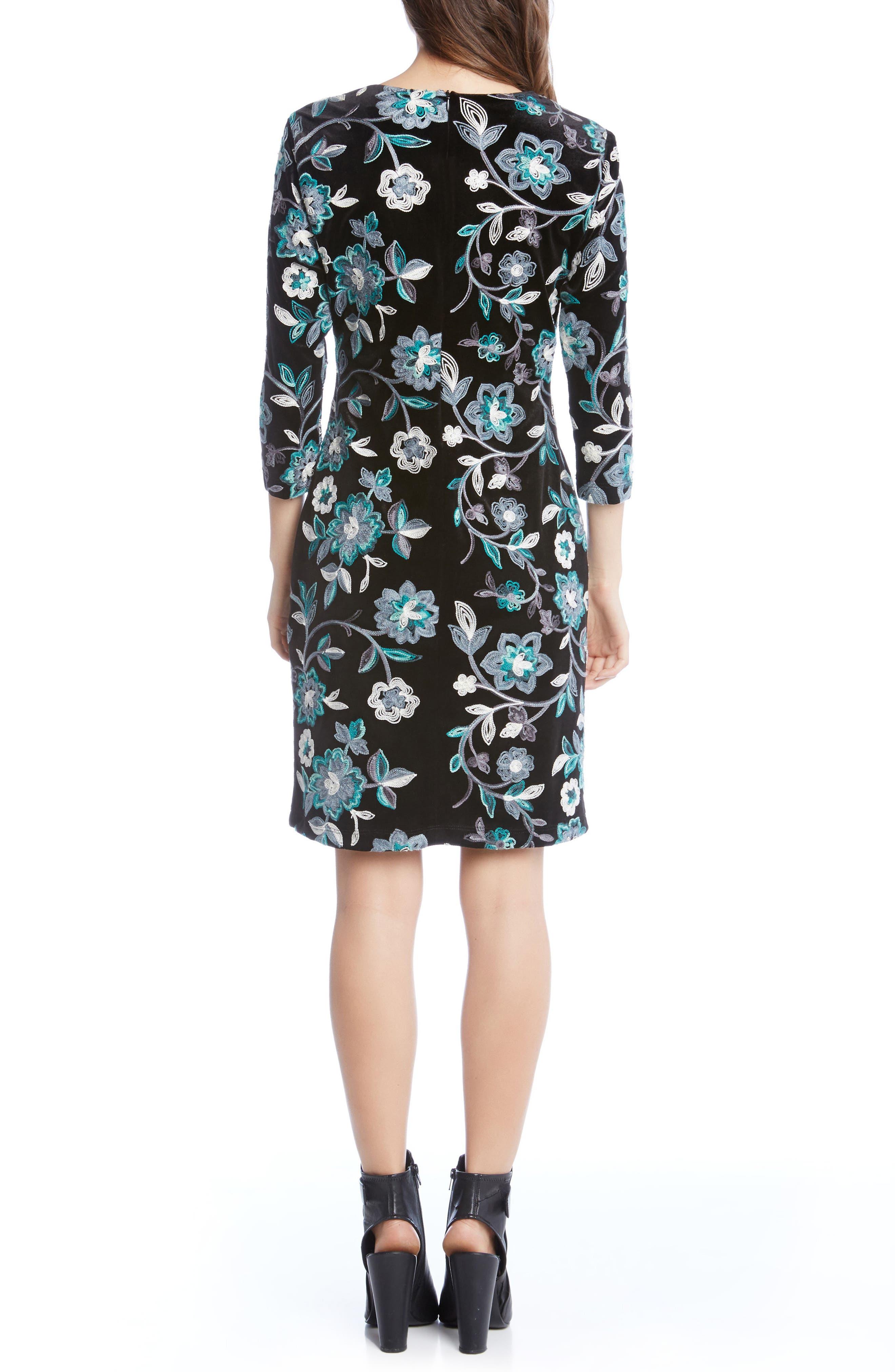 Embroidered Velvet Dress,                             Alternate thumbnail 4, color,                             Multi-Colored