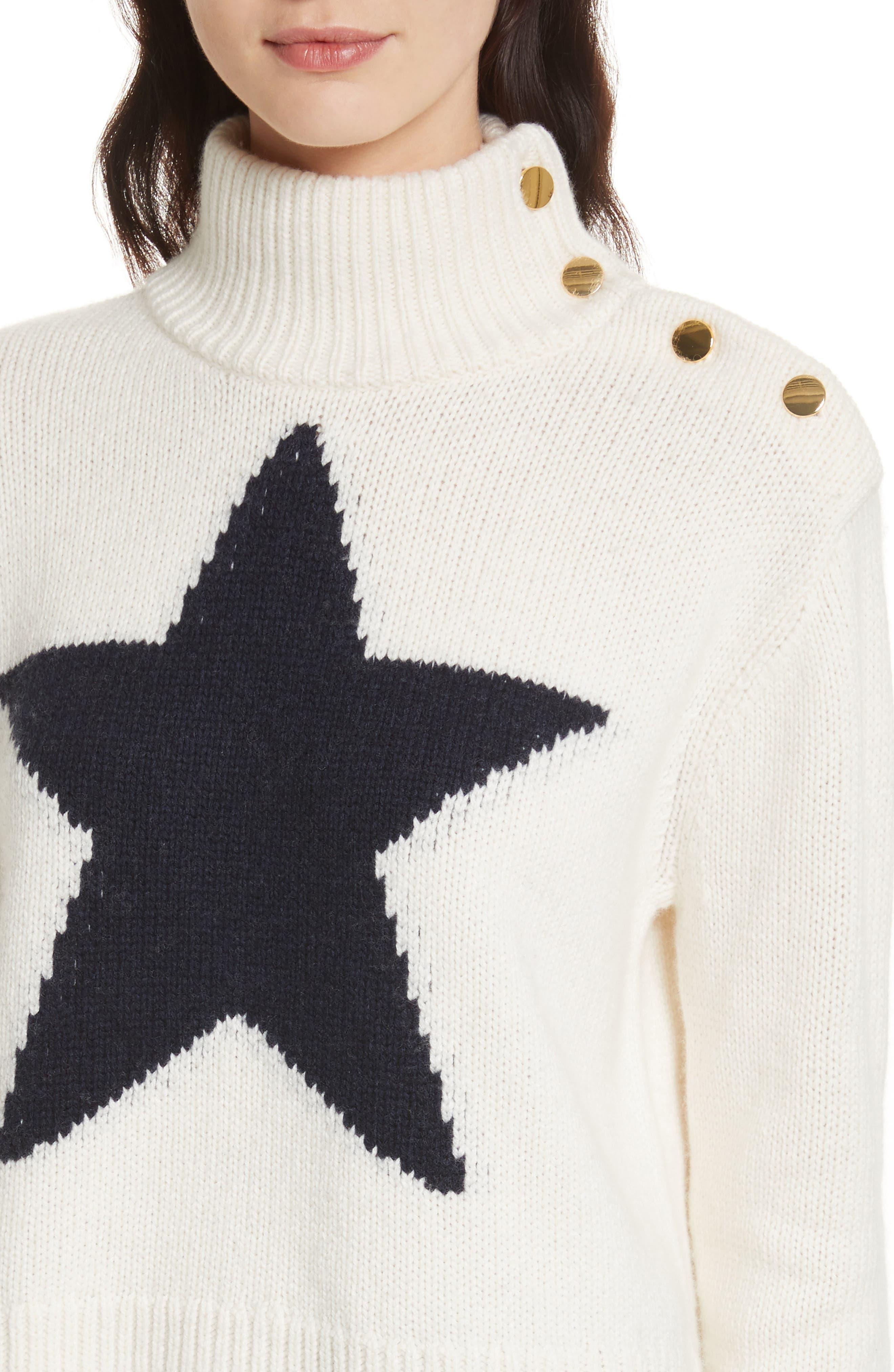 star turtleneck sweater,                             Alternate thumbnail 6, color,                             Cream/ Navy