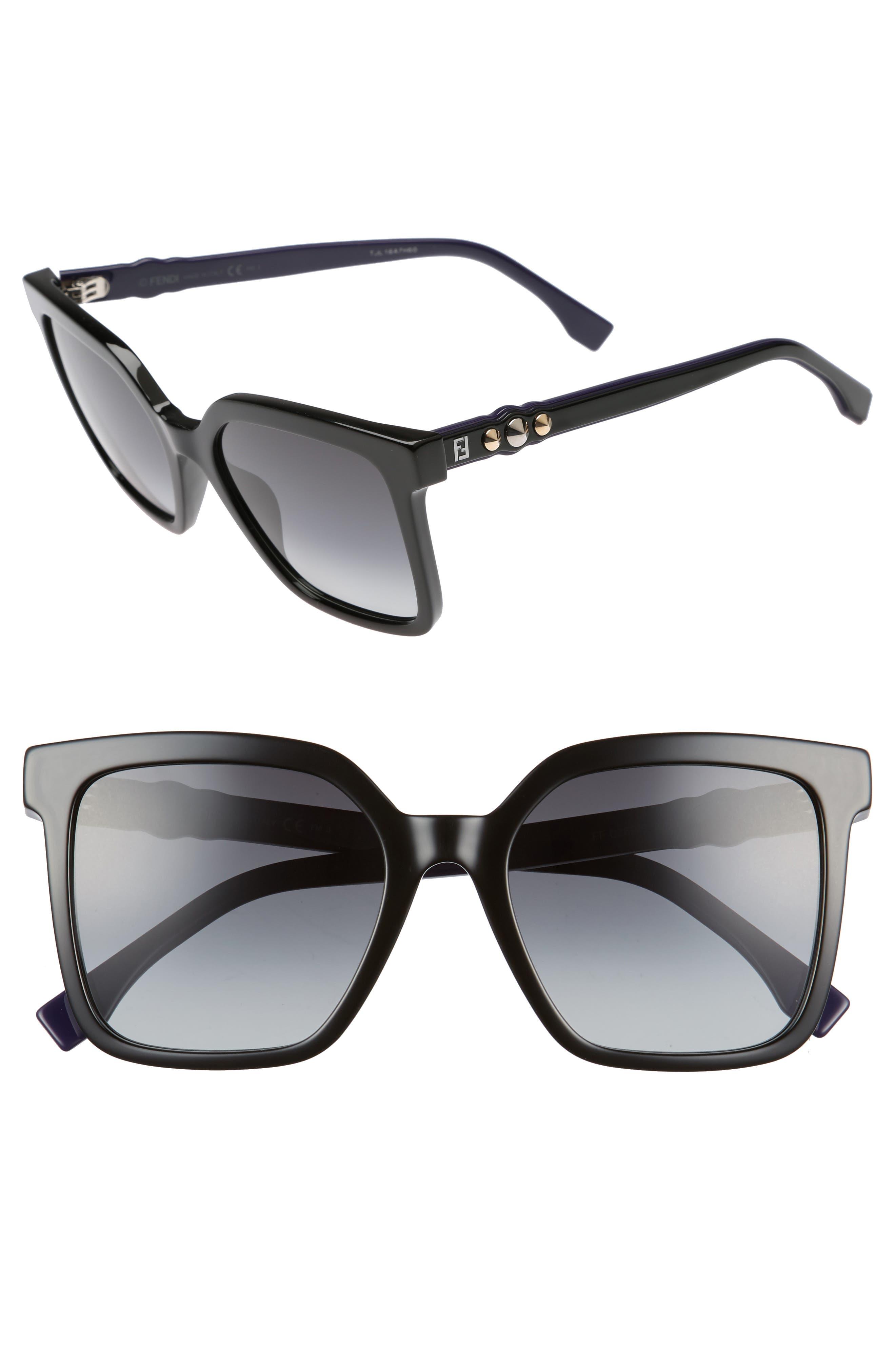 54mm Square Sunglasses,                         Main,                         color, Black