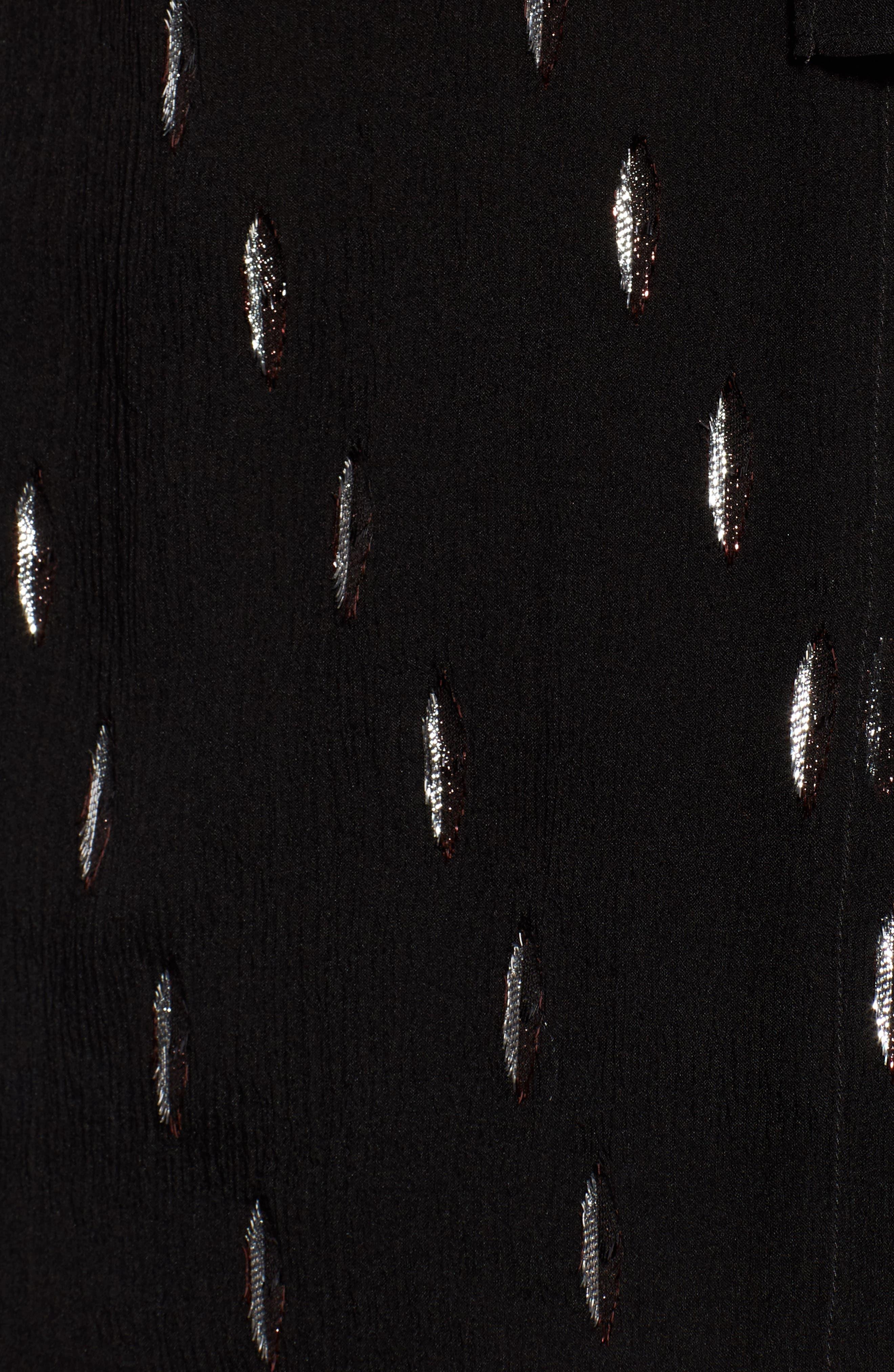 Bavimea Tie Neck Metallic Detail Blouse,                             Alternate thumbnail 6, color,                             Black Fantasy