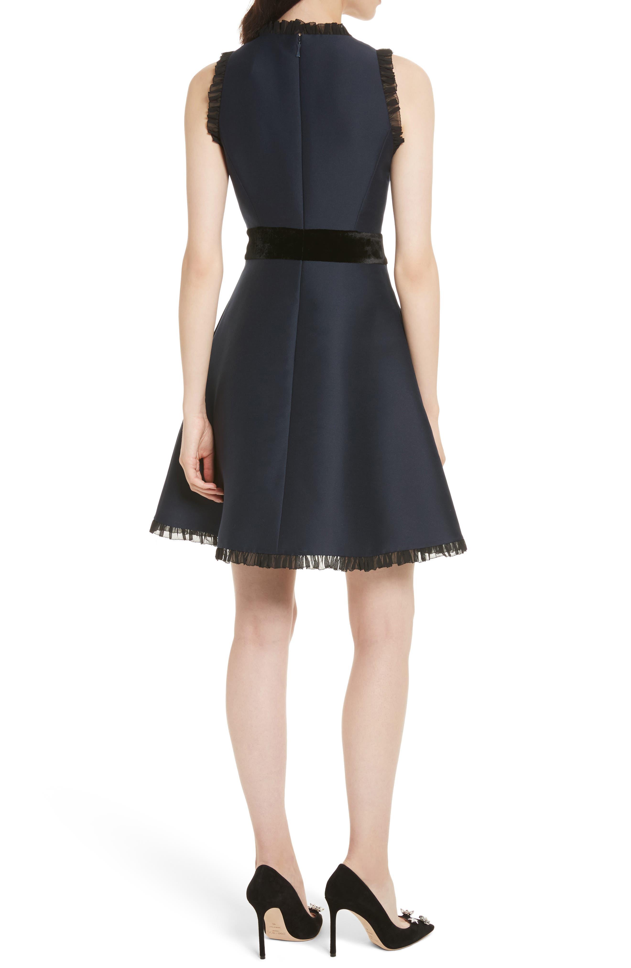 velvet bow fit & flare dress,                             Alternate thumbnail 2, color,                             Rich Navy