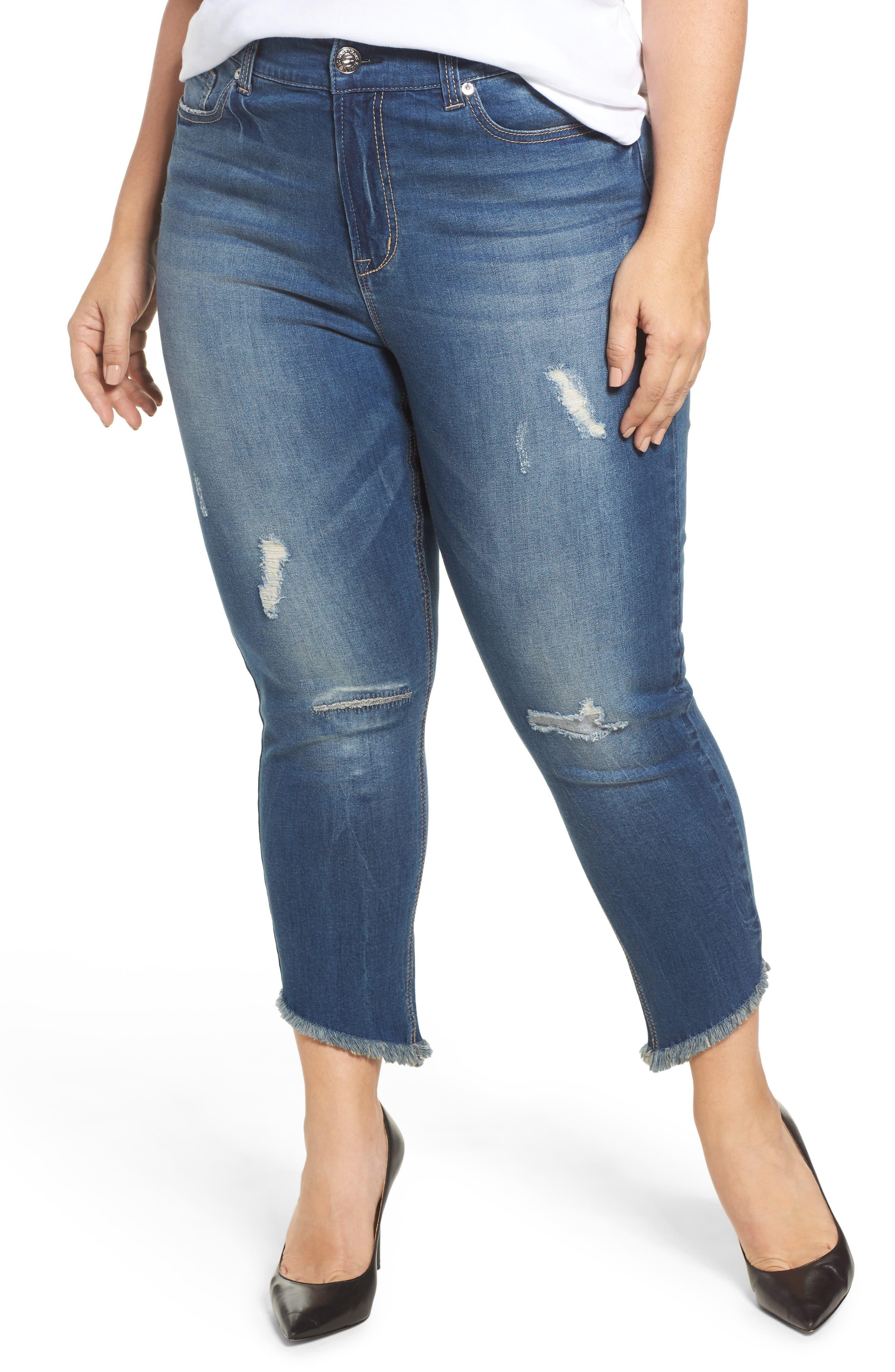 Seven7 Frayed Hem Skinny Jeans (Plus Size)